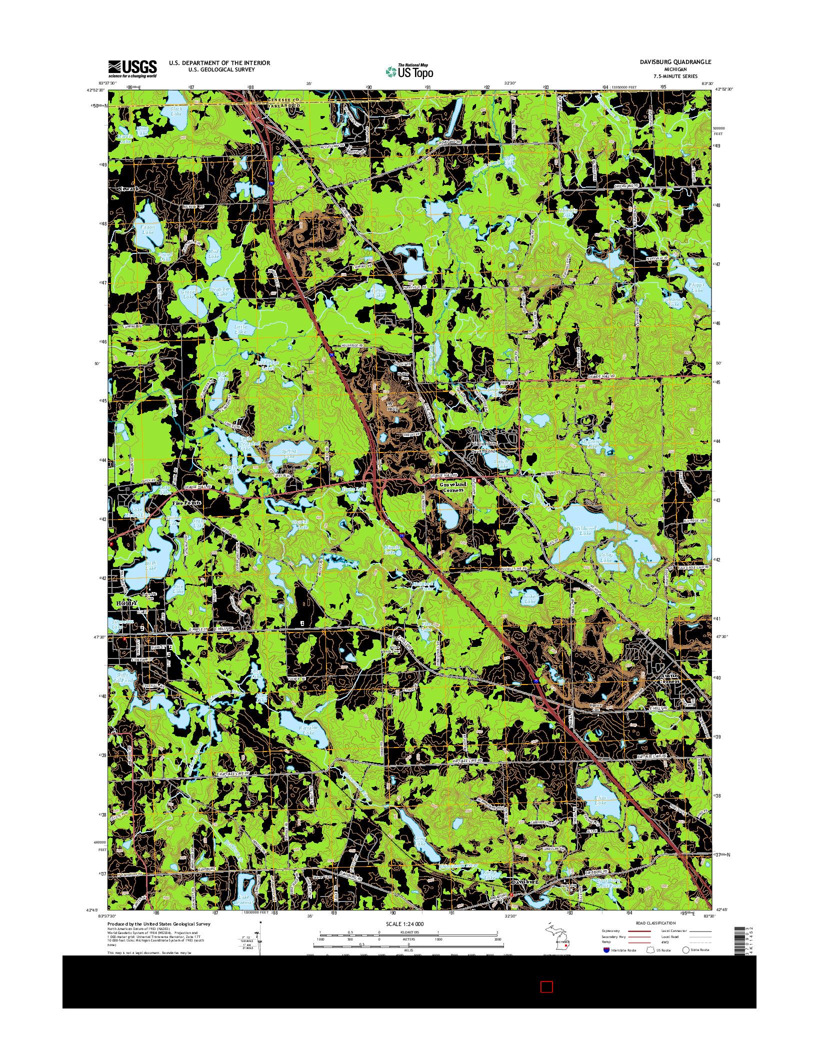 USGS US TOPO 7.5-MINUTE MAP FOR DAVISBURG, MI 2014
