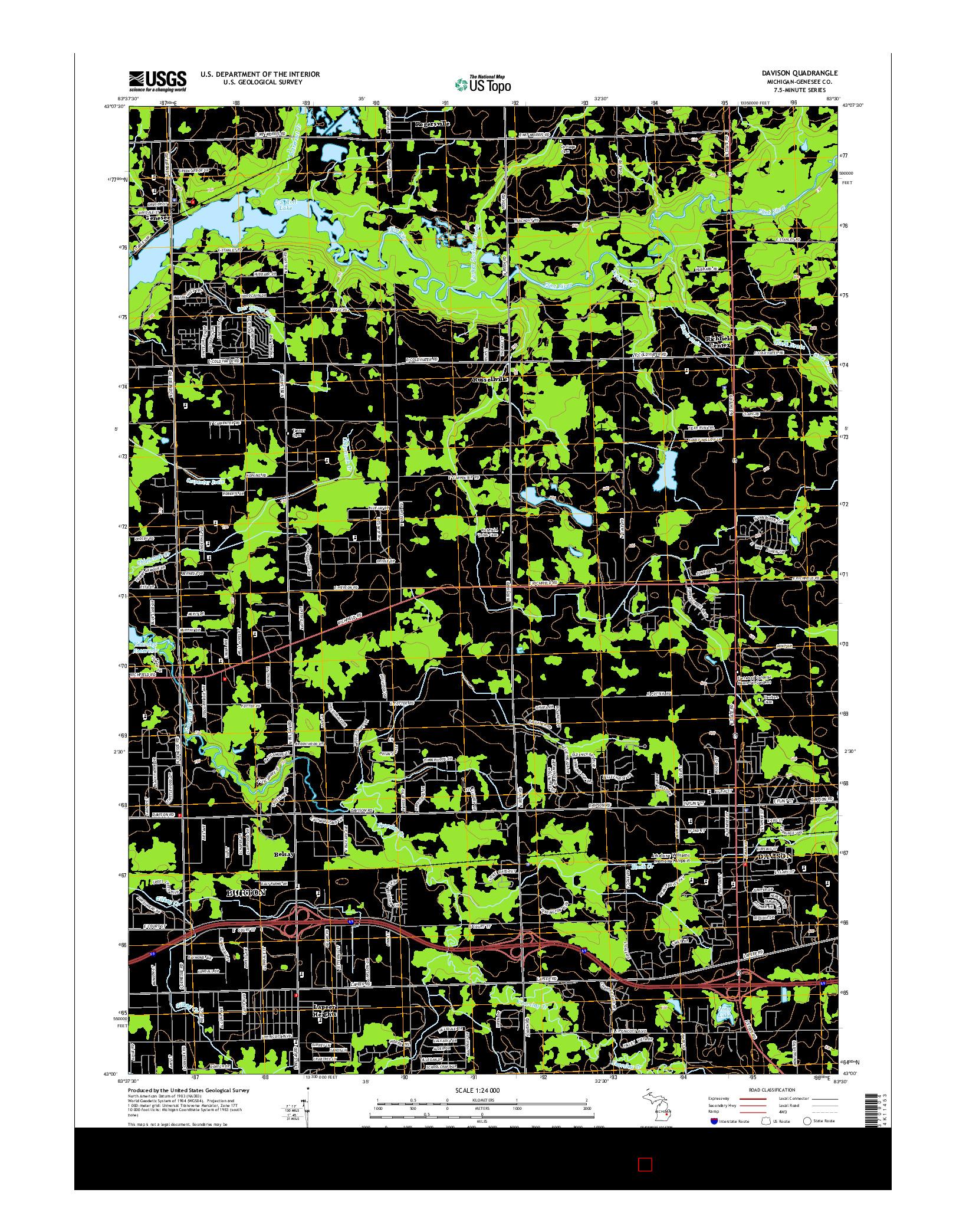 USGS US TOPO 7.5-MINUTE MAP FOR DAVISON, MI 2014