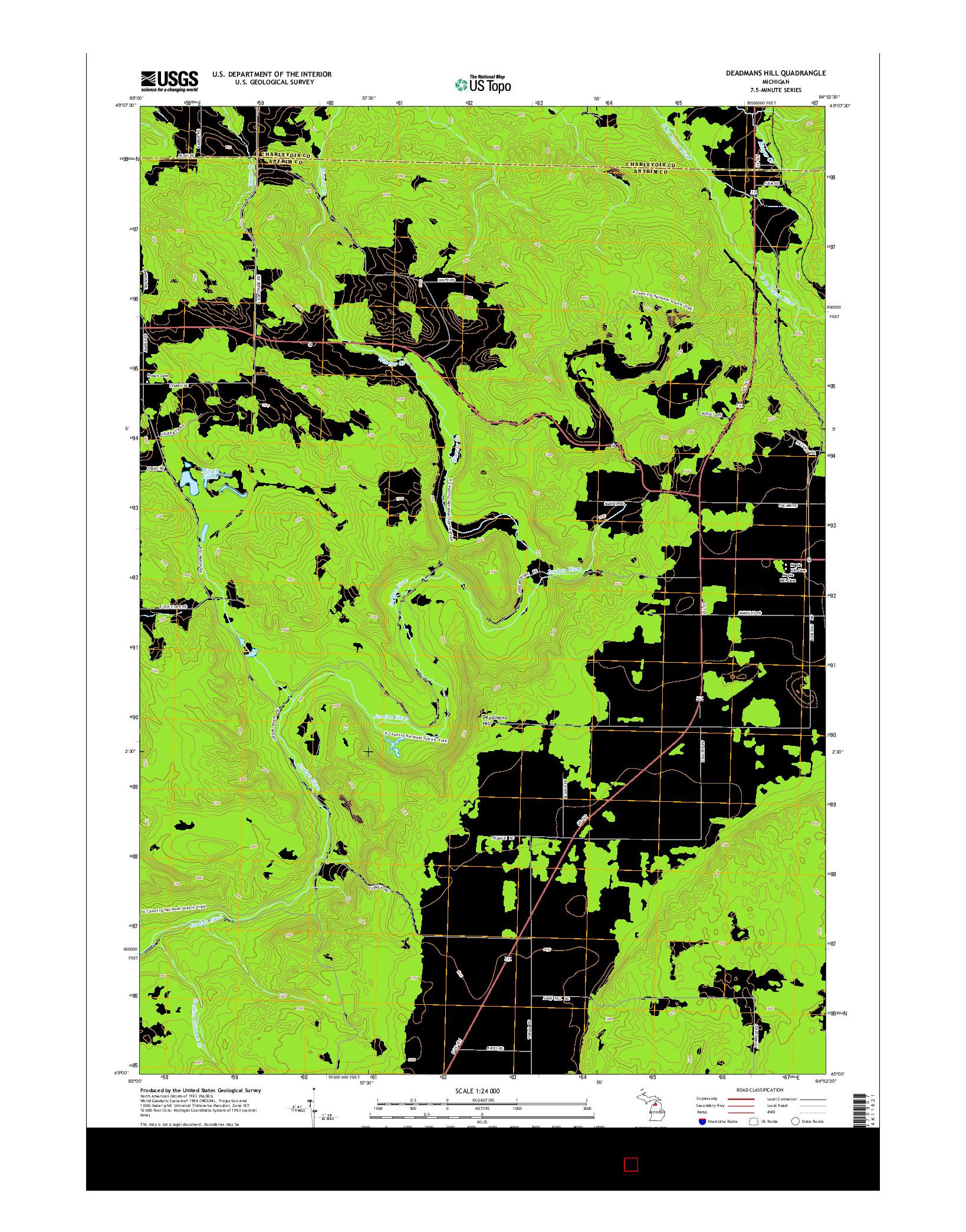 USGS US TOPO 7.5-MINUTE MAP FOR DEADMANS HILL, MI 2014