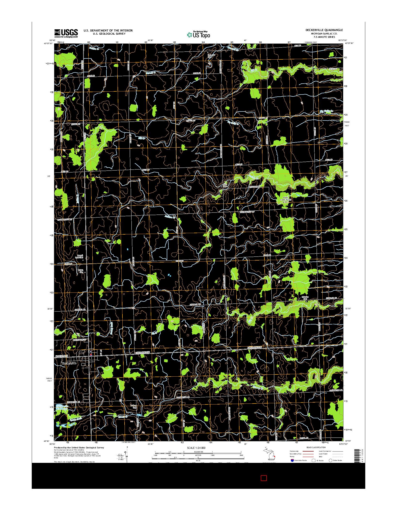 USGS US TOPO 7.5-MINUTE MAP FOR DECKERVILLE, MI 2014