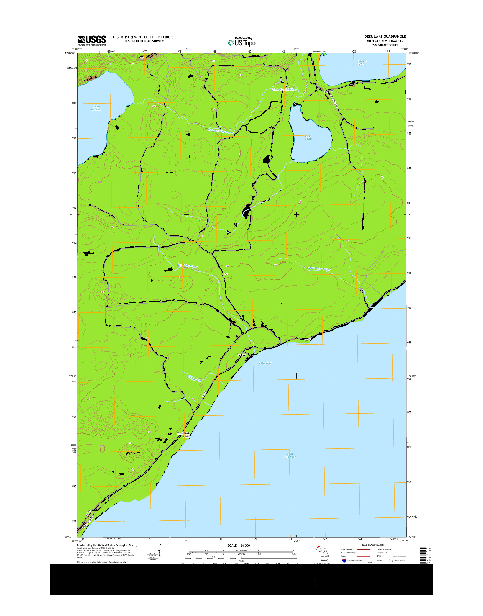 USGS US TOPO 7.5-MINUTE MAP FOR DEER LAKE, MI 2014