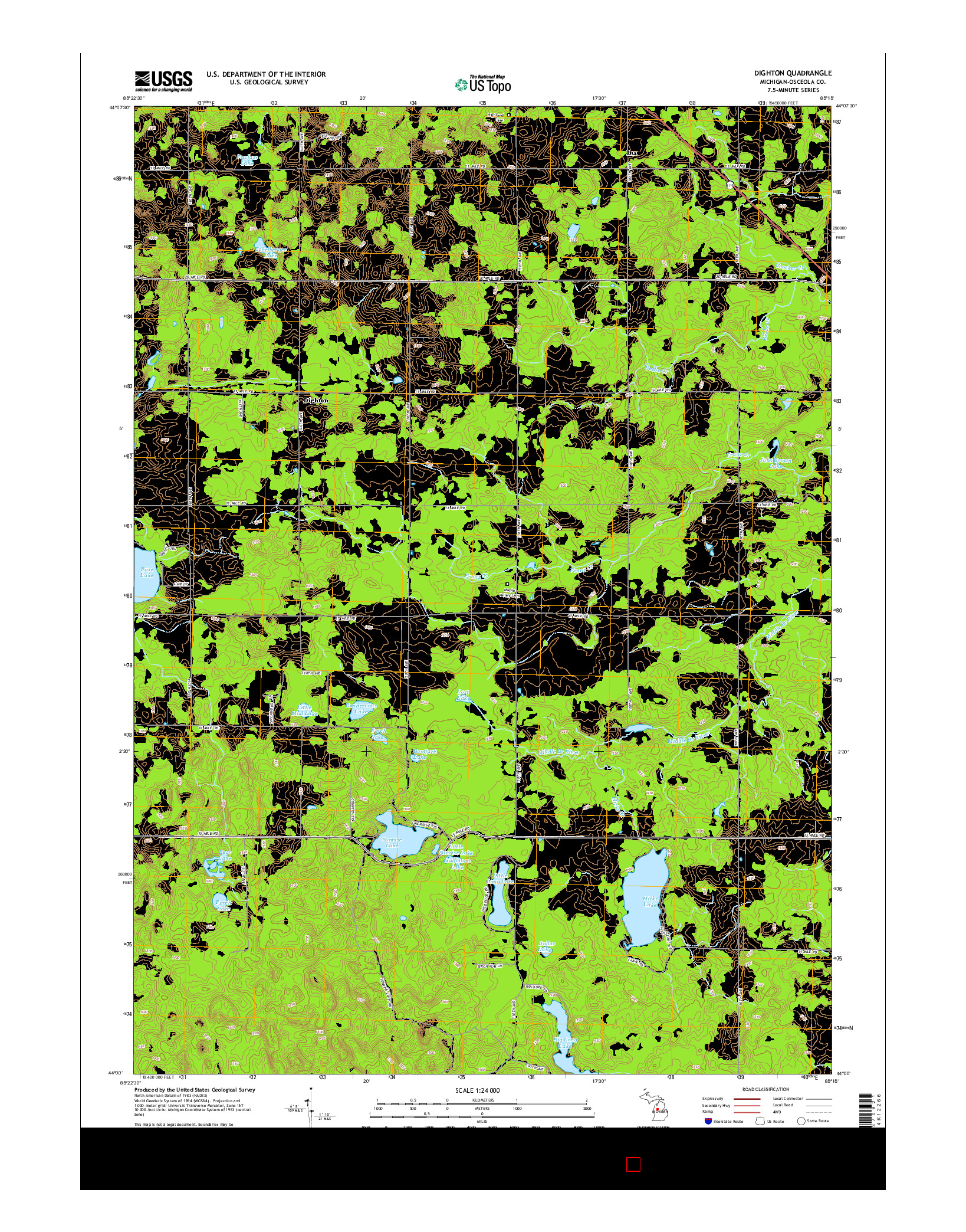 USGS US TOPO 7.5-MINUTE MAP FOR DIGHTON, MI 2014