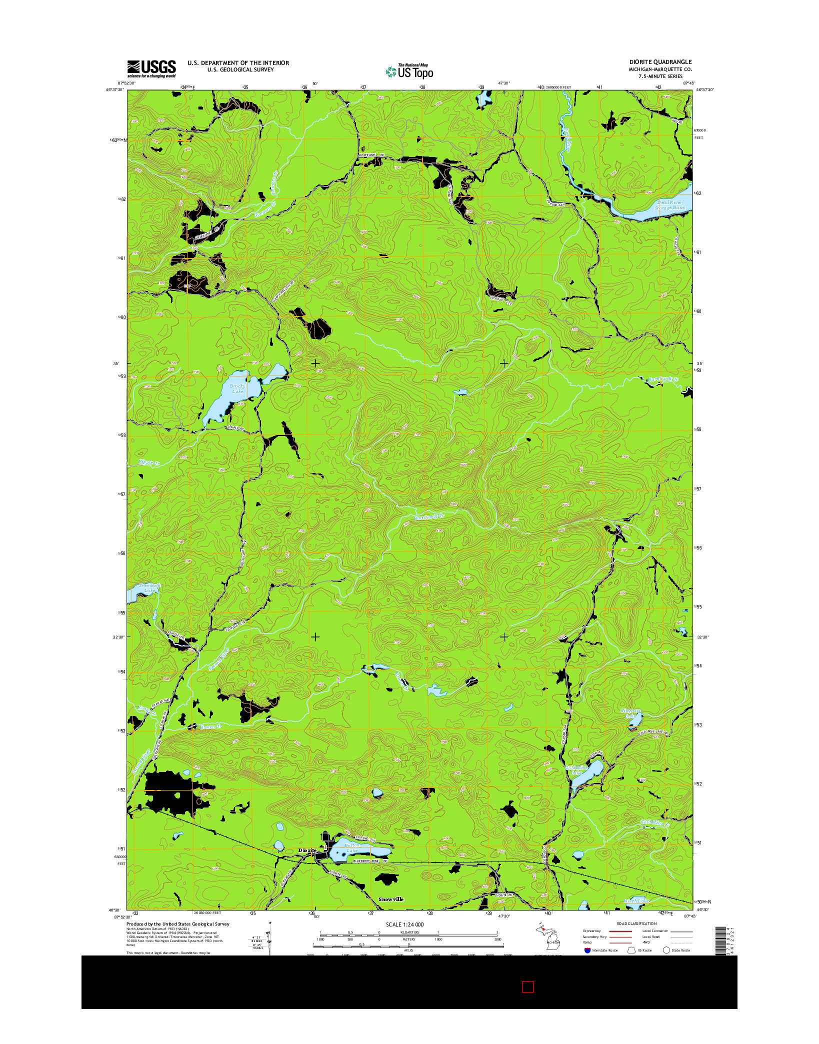 USGS US TOPO 7.5-MINUTE MAP FOR DIORITE, MI 2014