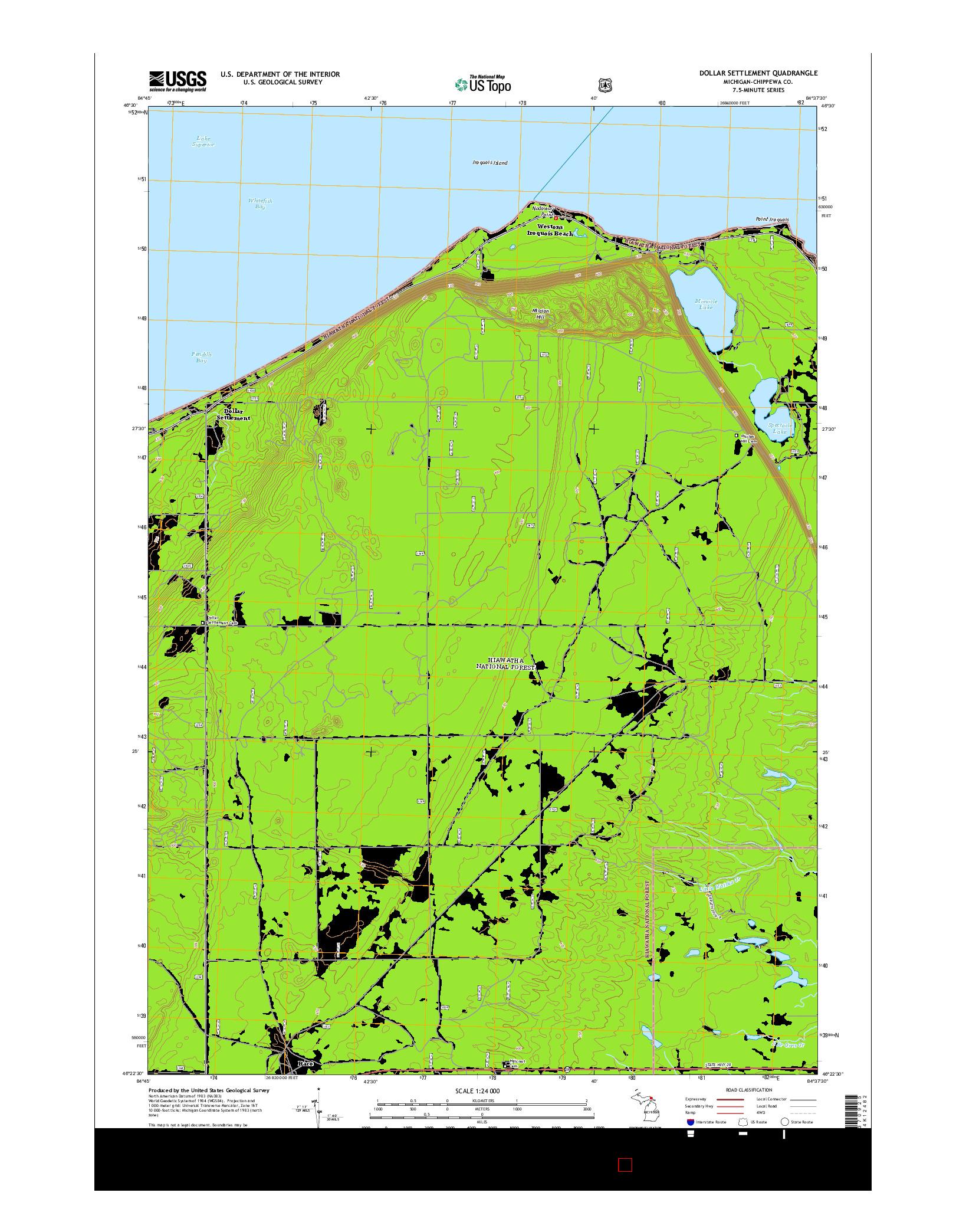 USGS US TOPO 7.5-MINUTE MAP FOR DOLLAR SETTLEMENT, MI 2014