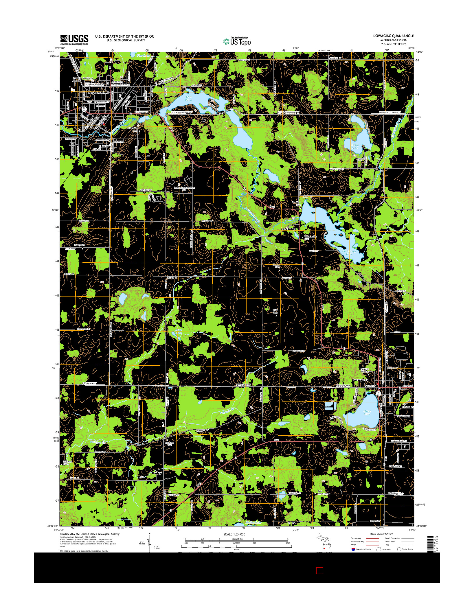 USGS US TOPO 7.5-MINUTE MAP FOR DOWAGIAC, MI 2014