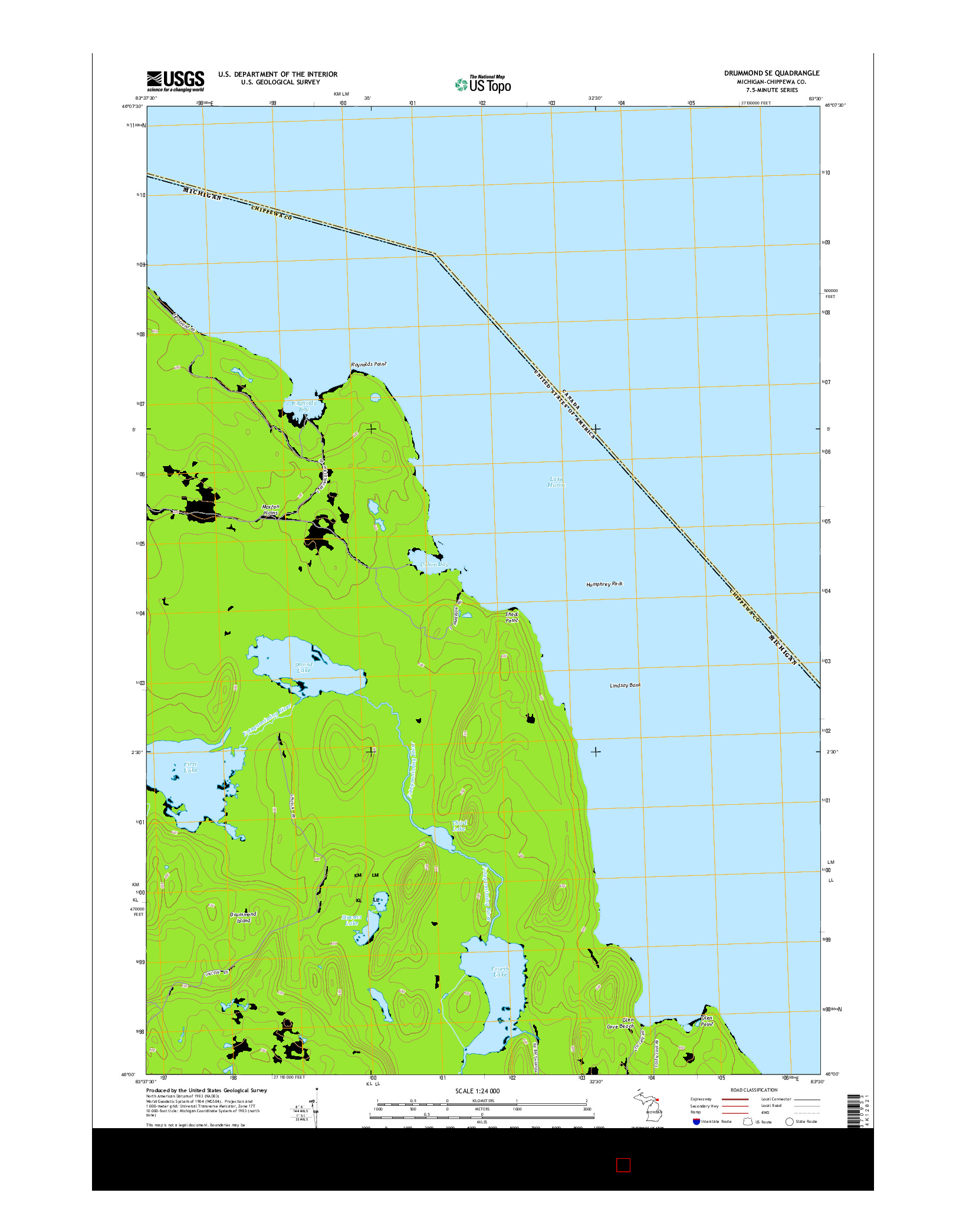 USGS US TOPO 7.5-MINUTE MAP FOR DRUMMOND SE, MI 2014
