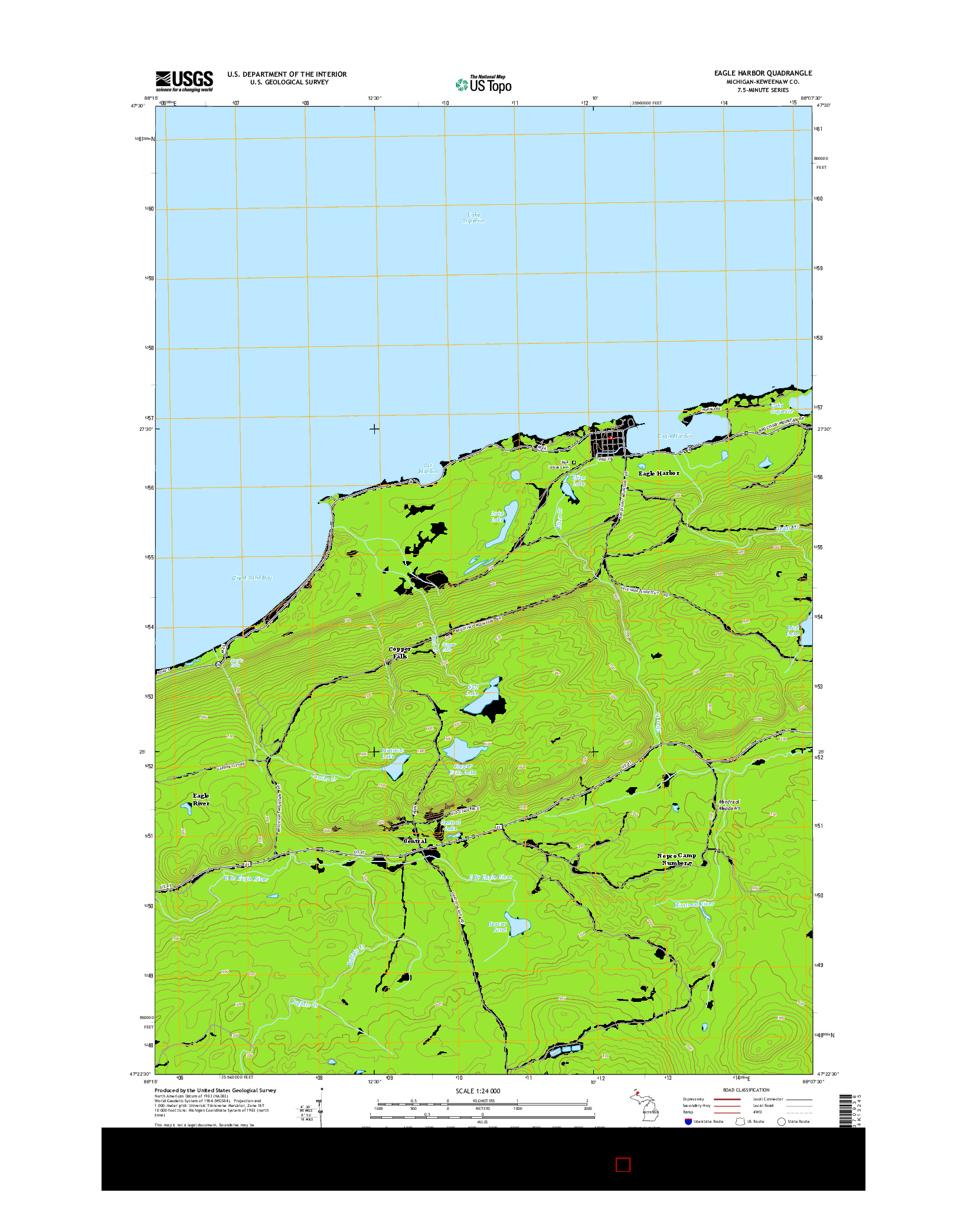 USGS US TOPO 7.5-MINUTE MAP FOR EAGLE HARBOR, MI 2014