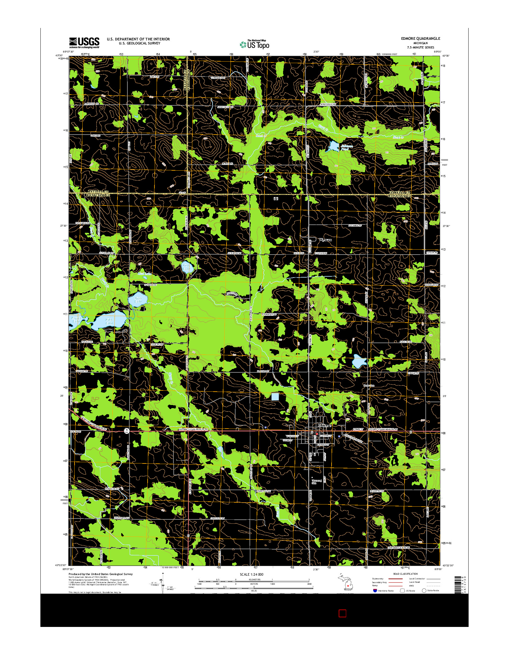 USGS US TOPO 7.5-MINUTE MAP FOR EDMORE, MI 2014