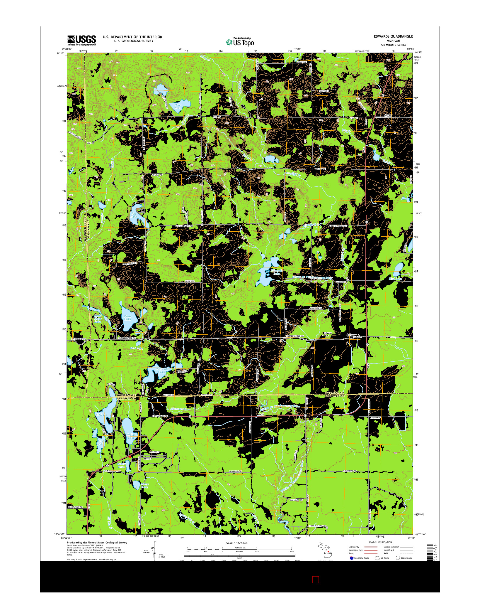 USGS US TOPO 7.5-MINUTE MAP FOR EDWARDS, MI 2014