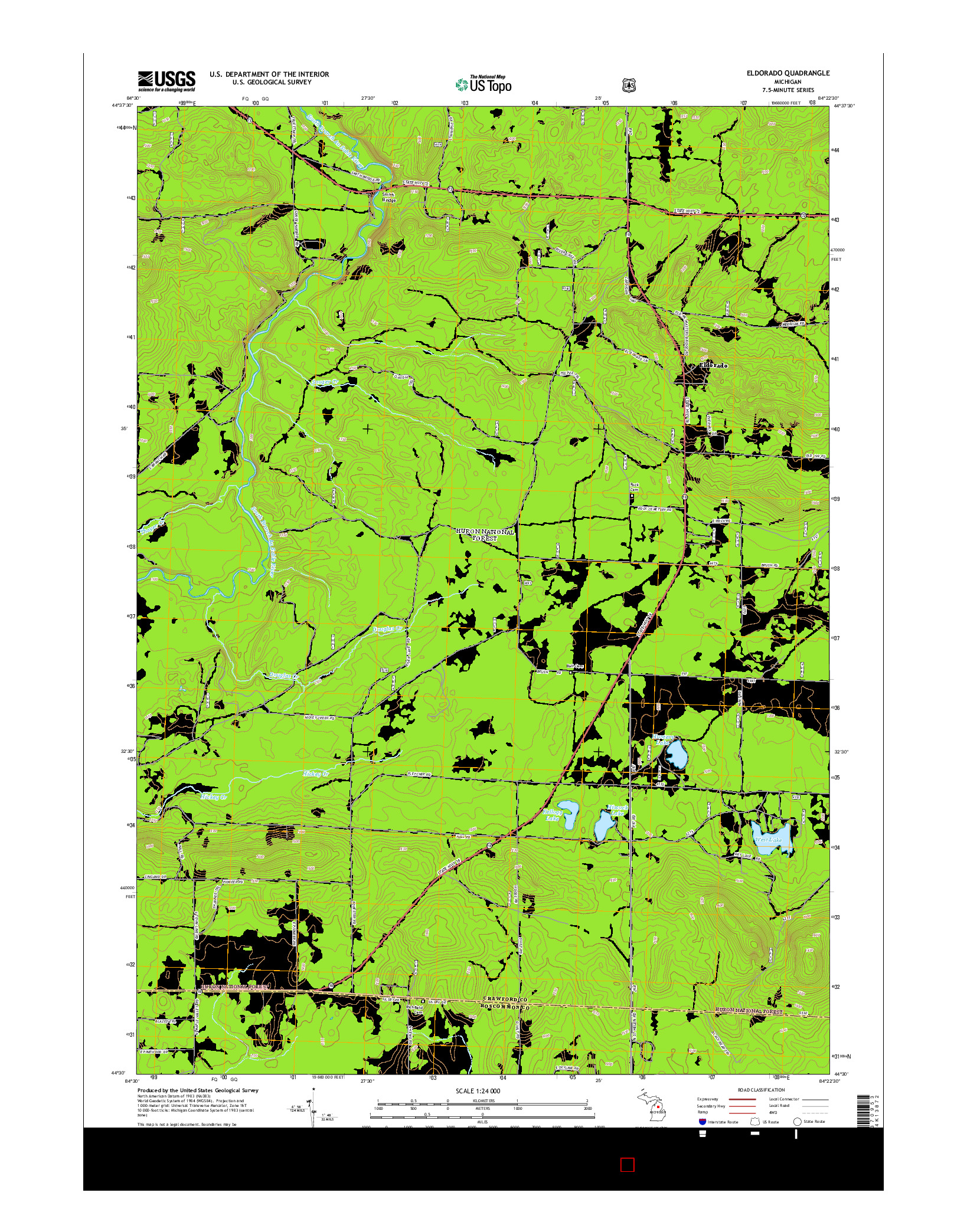 USGS US TOPO 7.5-MINUTE MAP FOR ELDORADO, MI 2014