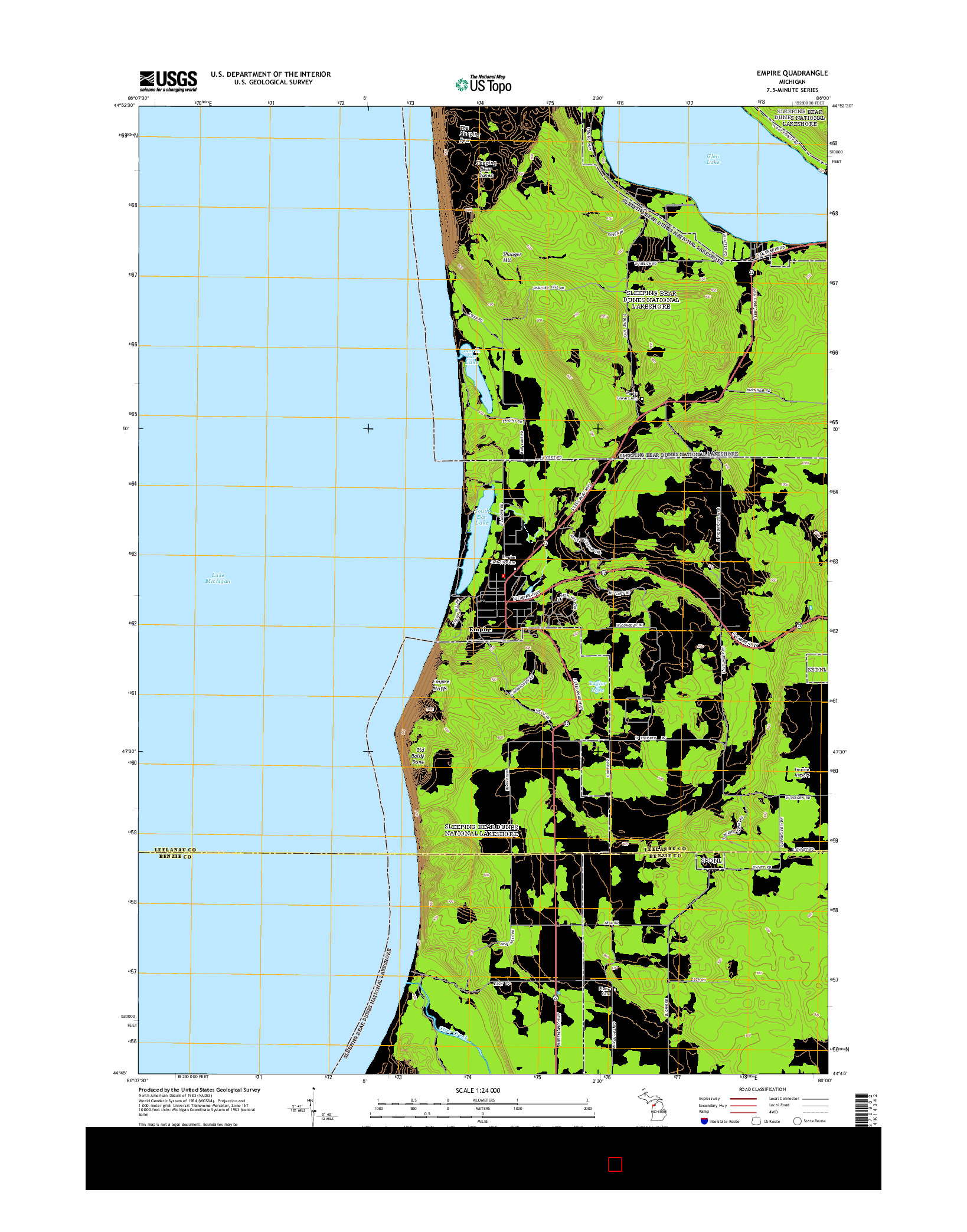 USGS US TOPO 7.5-MINUTE MAP FOR EMPIRE, MI 2014