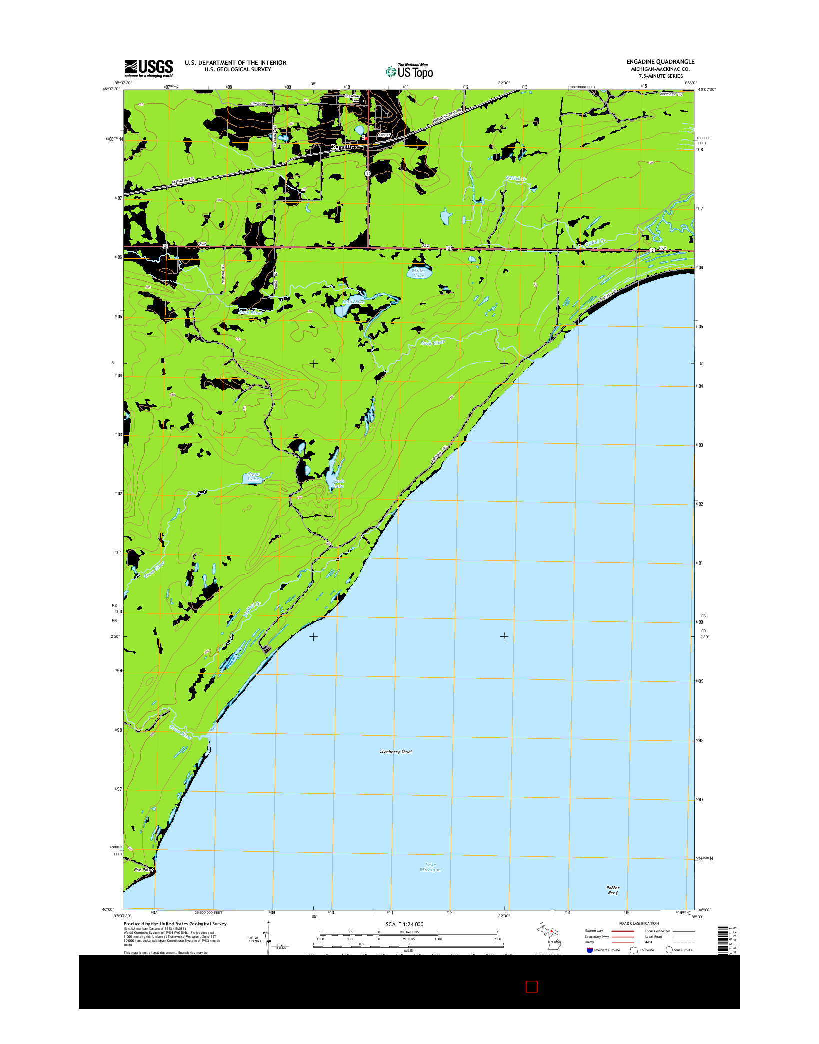 USGS US TOPO 7.5-MINUTE MAP FOR ENGADINE, MI 2014