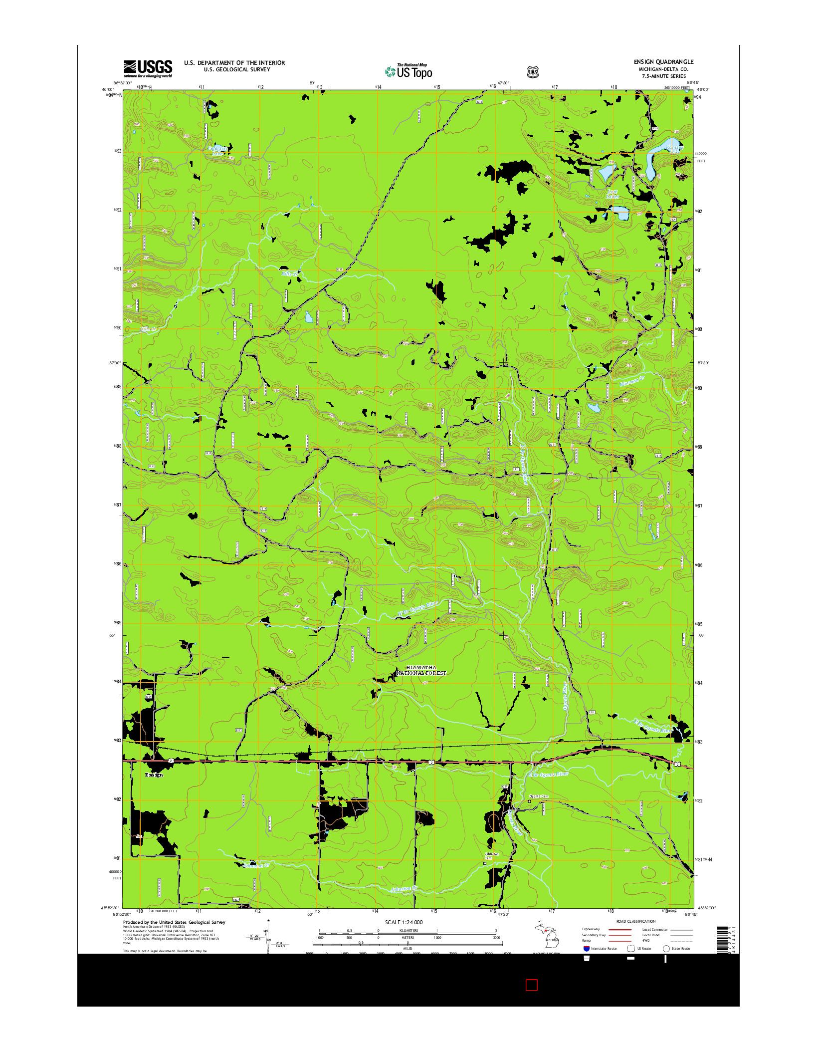 USGS US TOPO 7.5-MINUTE MAP FOR ENSIGN, MI 2014