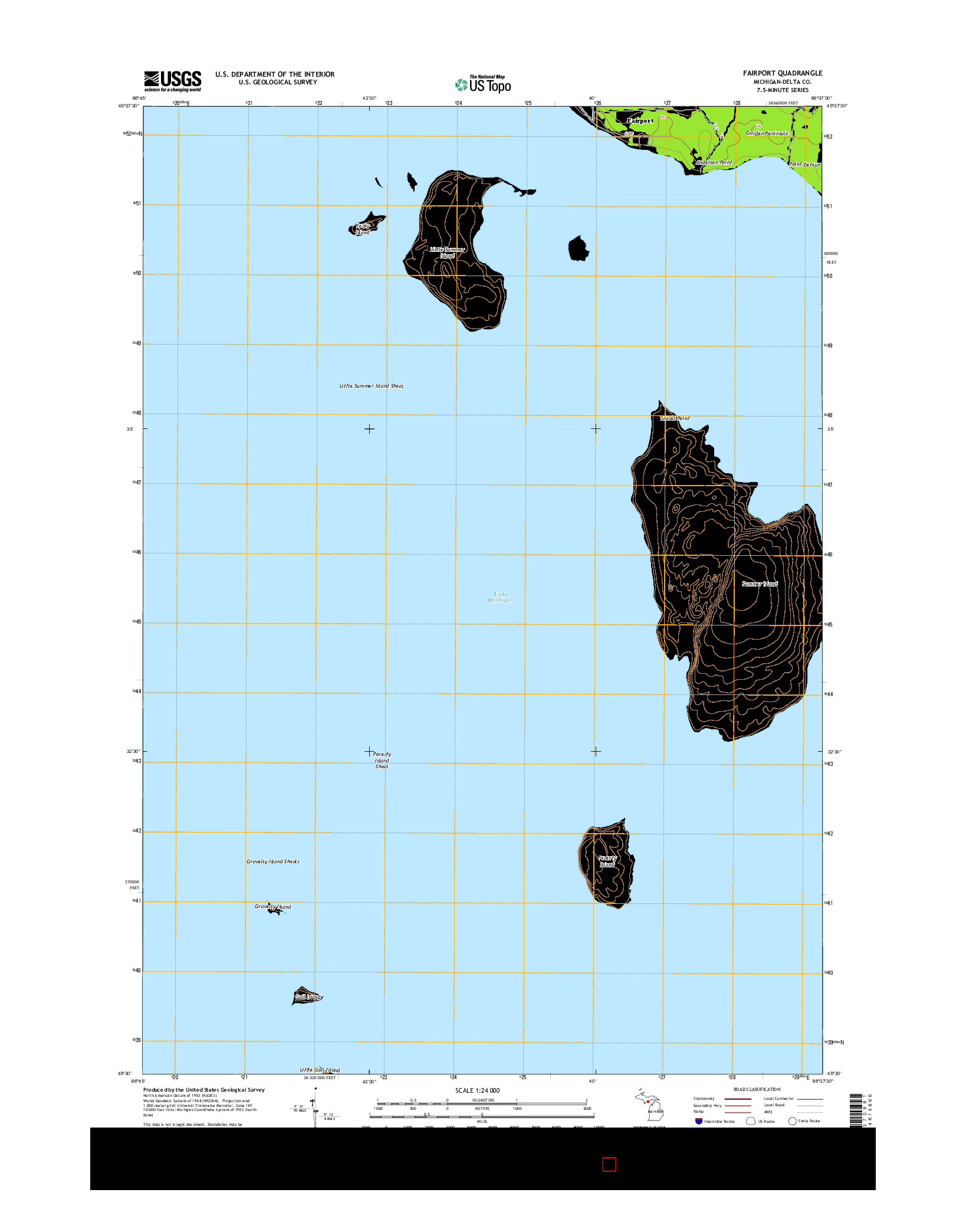 USGS US TOPO 7.5-MINUTE MAP FOR FAIRPORT, MI 2014