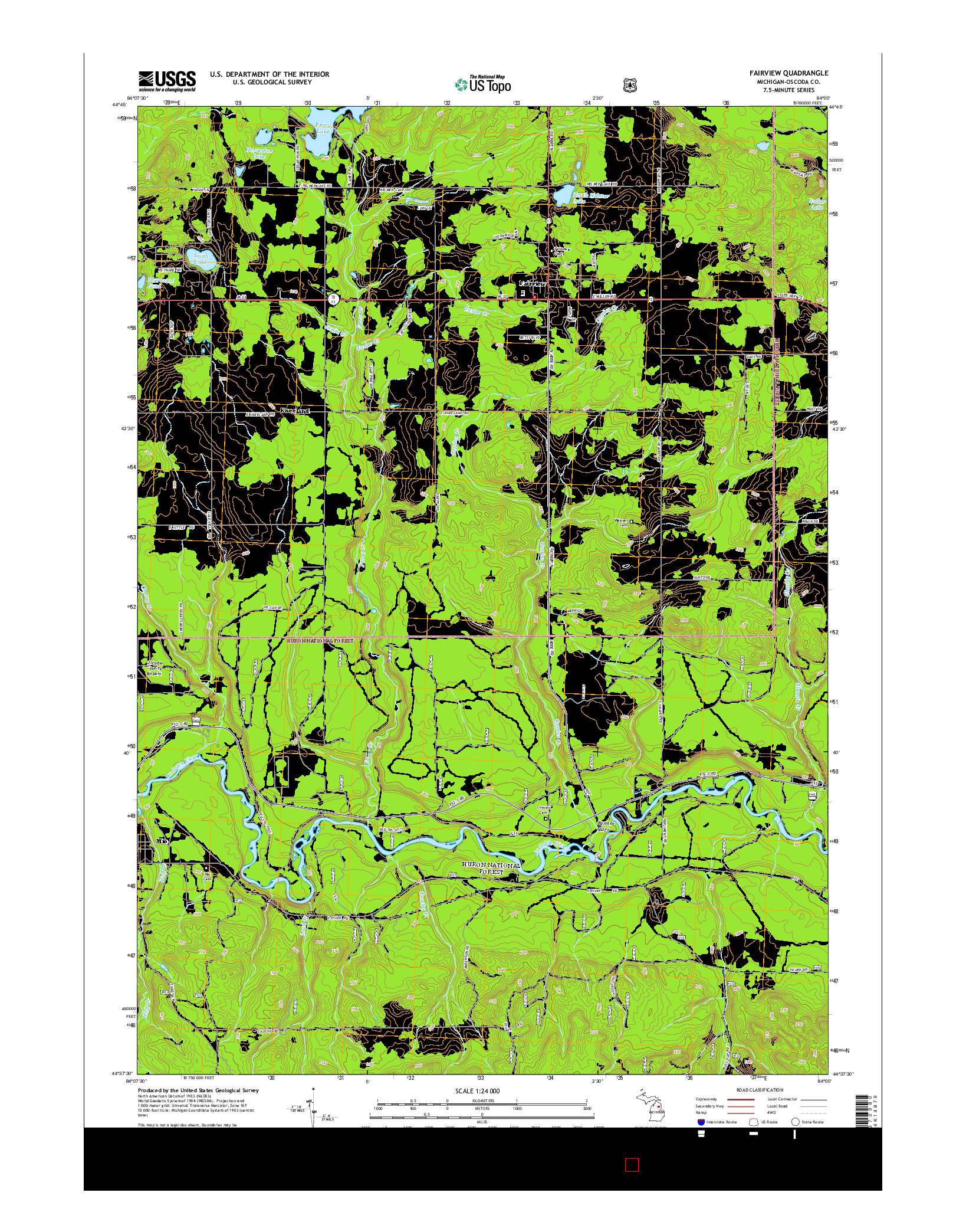 USGS US TOPO 7.5-MINUTE MAP FOR FAIRVIEW, MI 2014