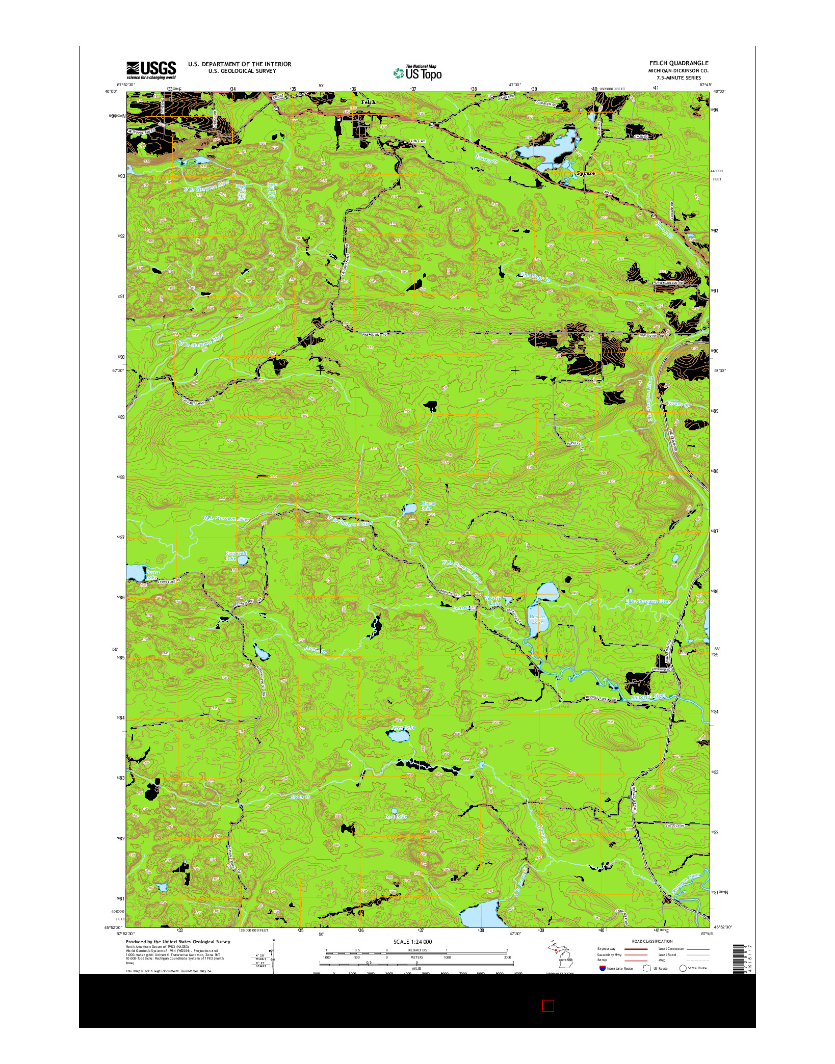 USGS US TOPO 7.5-MINUTE MAP FOR FELCH, MI 2014