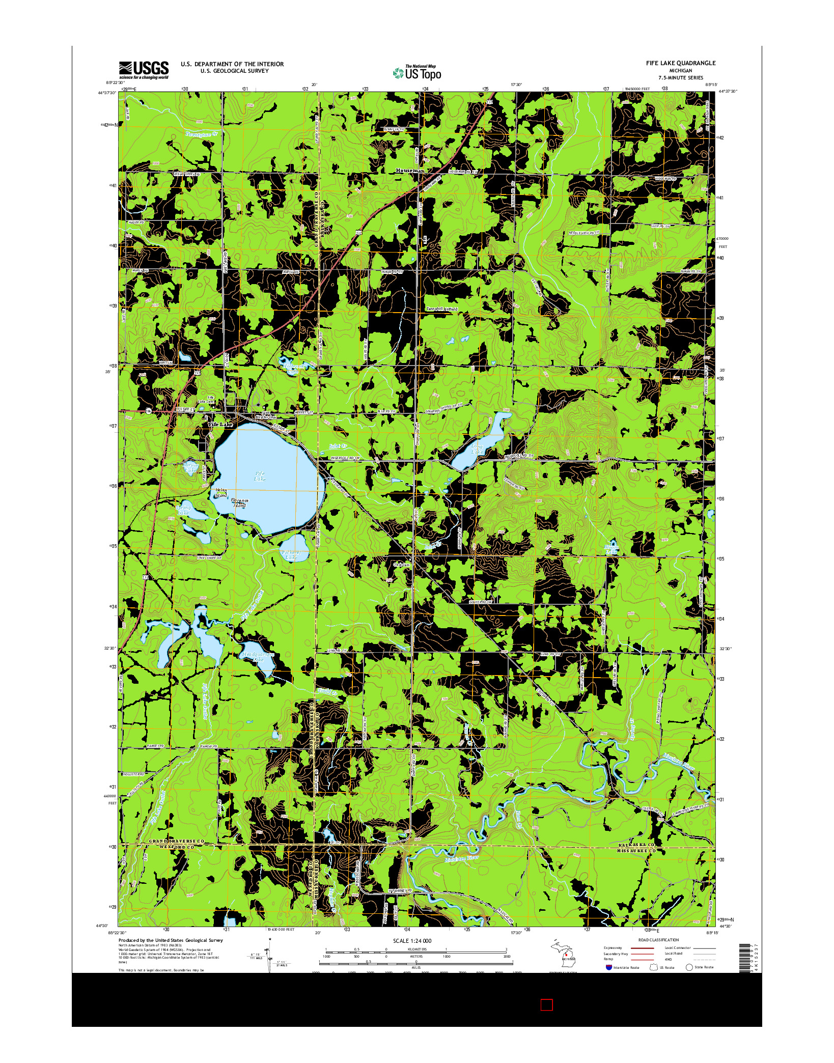 USGS US TOPO 7.5-MINUTE MAP FOR FIFE LAKE, MI 2014