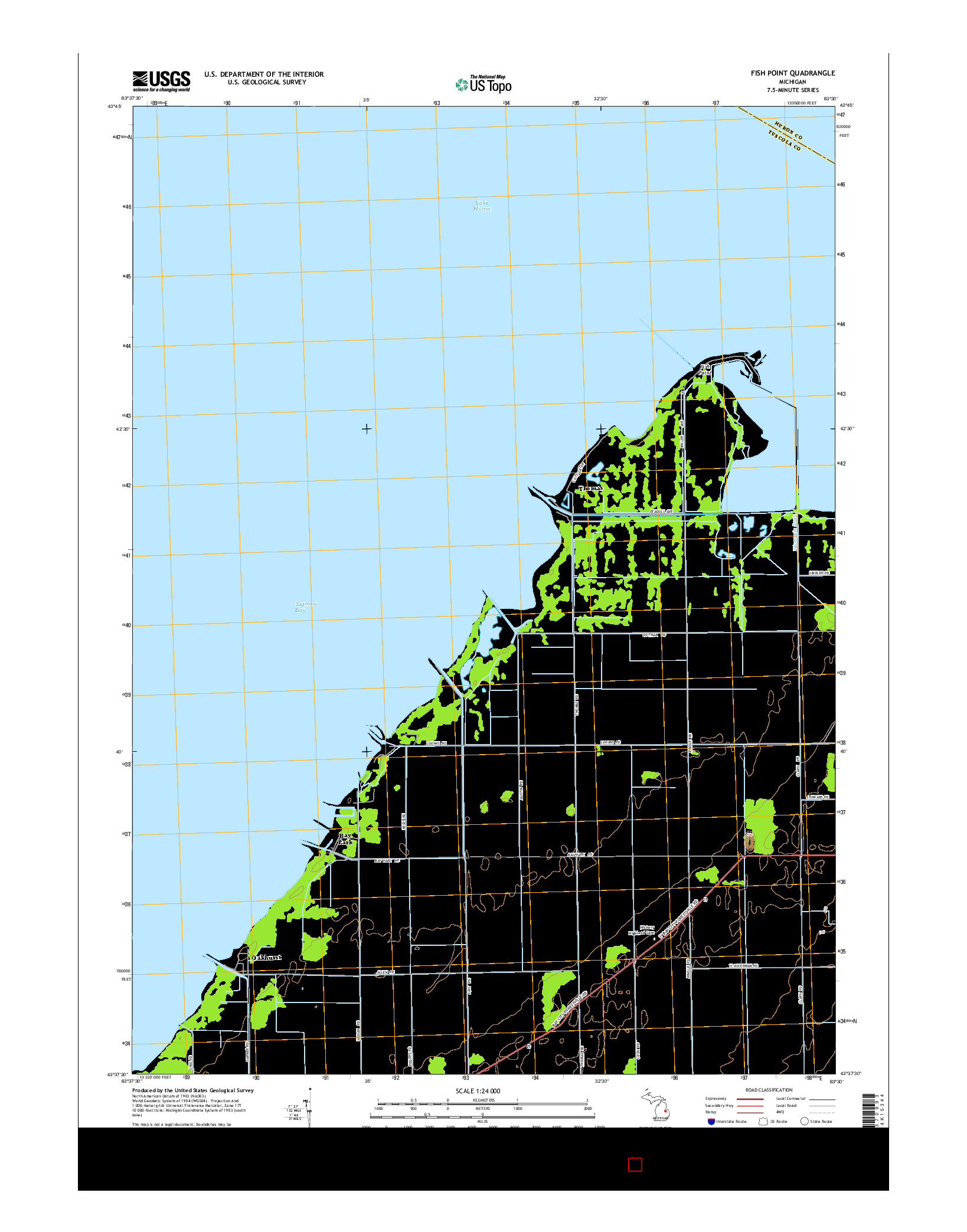 USGS US TOPO 7.5-MINUTE MAP FOR FISH POINT, MI 2014