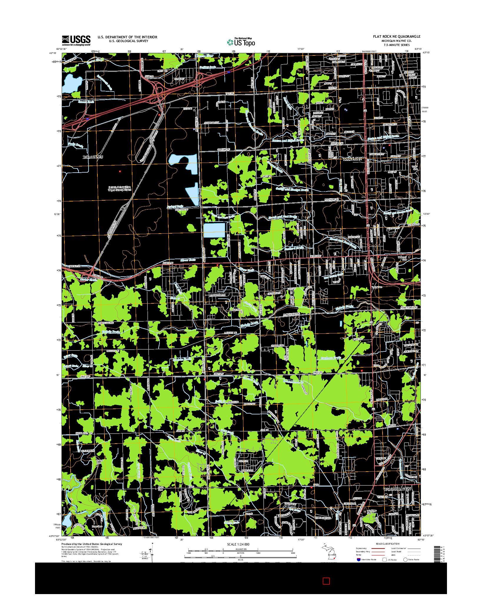 USGS US TOPO 7.5-MINUTE MAP FOR FLAT ROCK NE, MI 2014