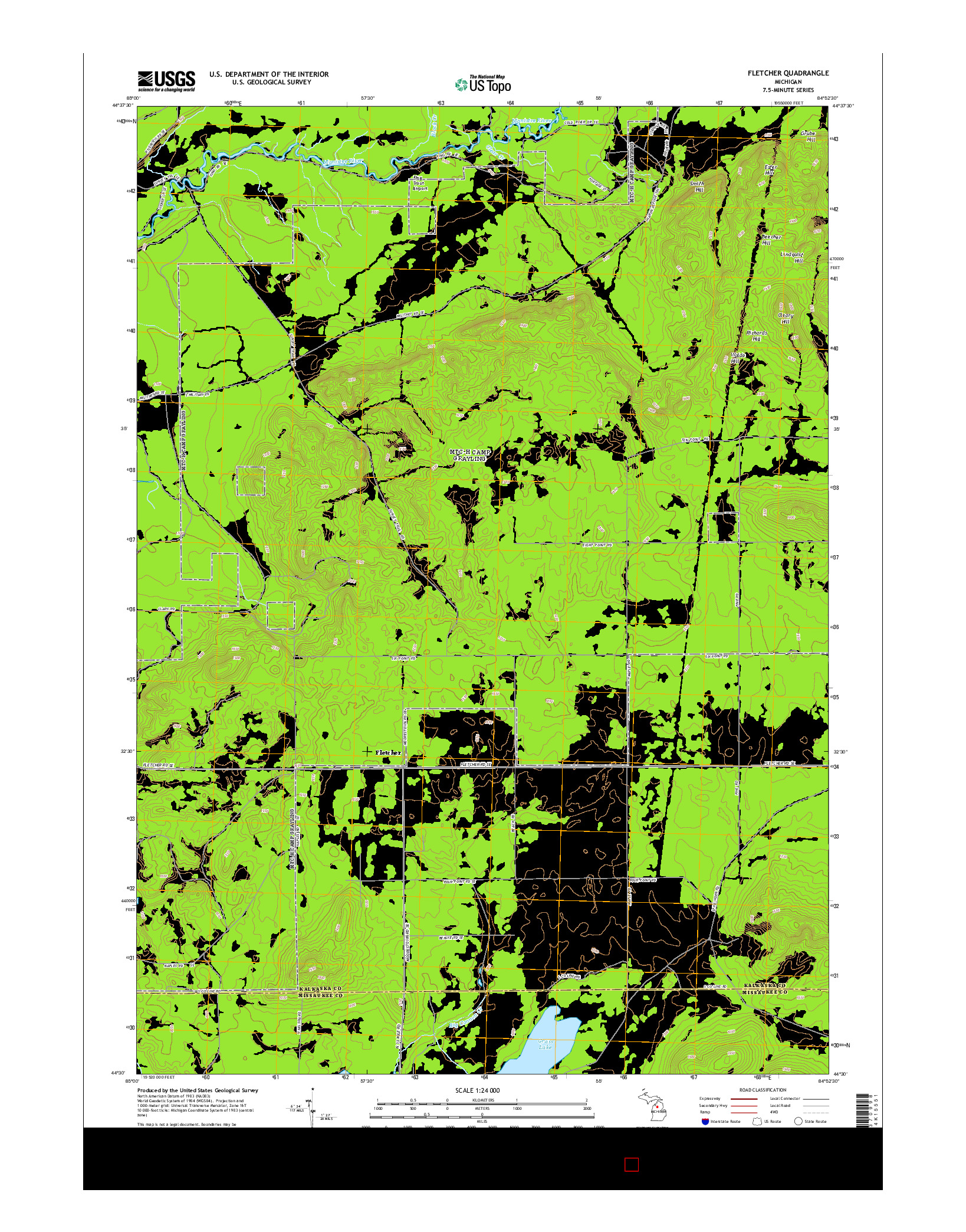 USGS US TOPO 7.5-MINUTE MAP FOR FLETCHER, MI 2014