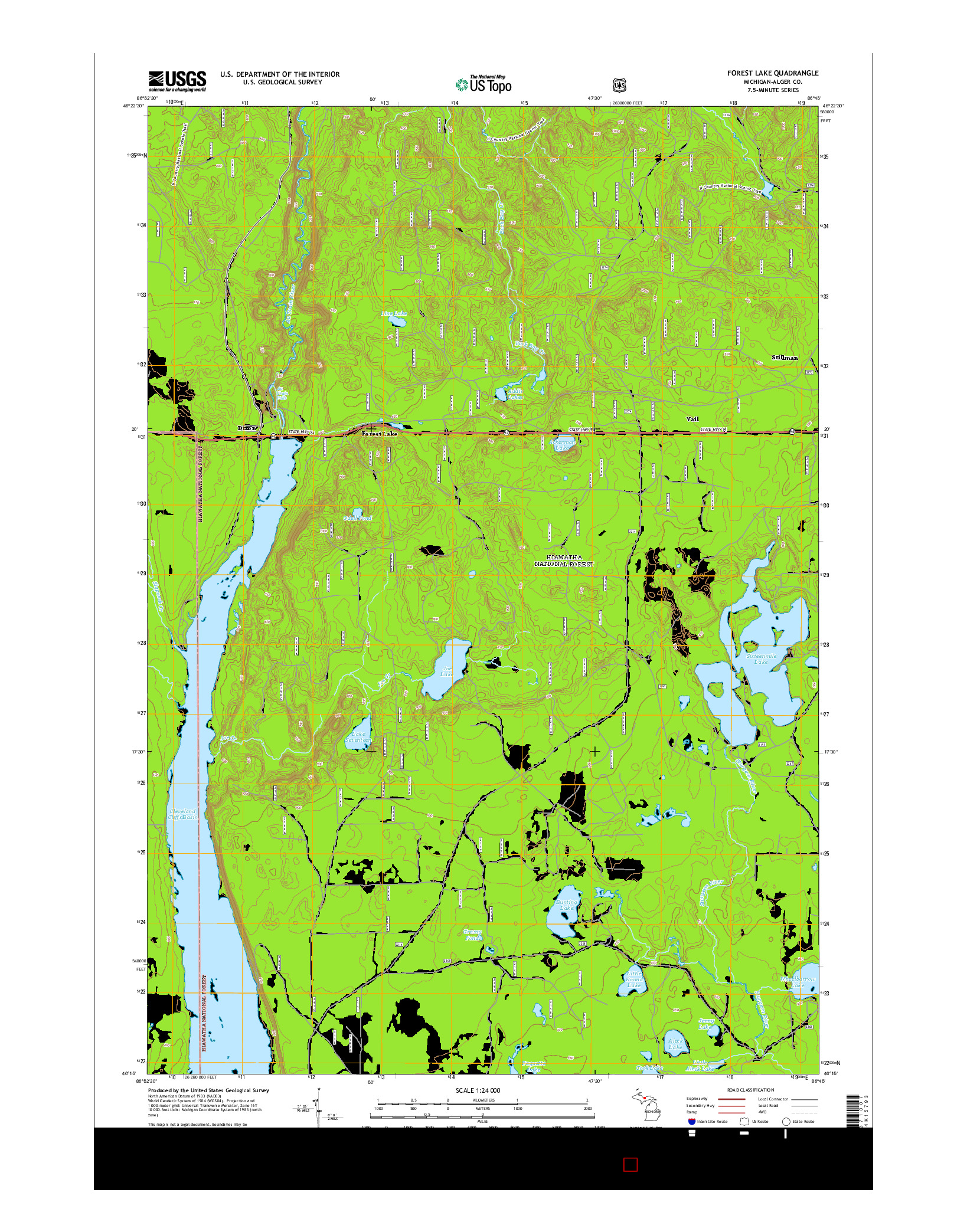 USGS US TOPO 7.5-MINUTE MAP FOR FOREST LAKE, MI 2014