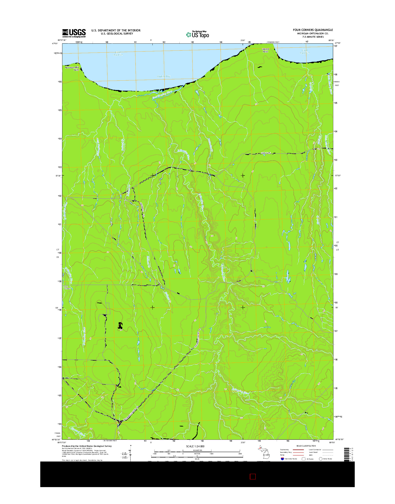 USGS US TOPO 7.5-MINUTE MAP FOR FOUR CORNERS, MI 2014