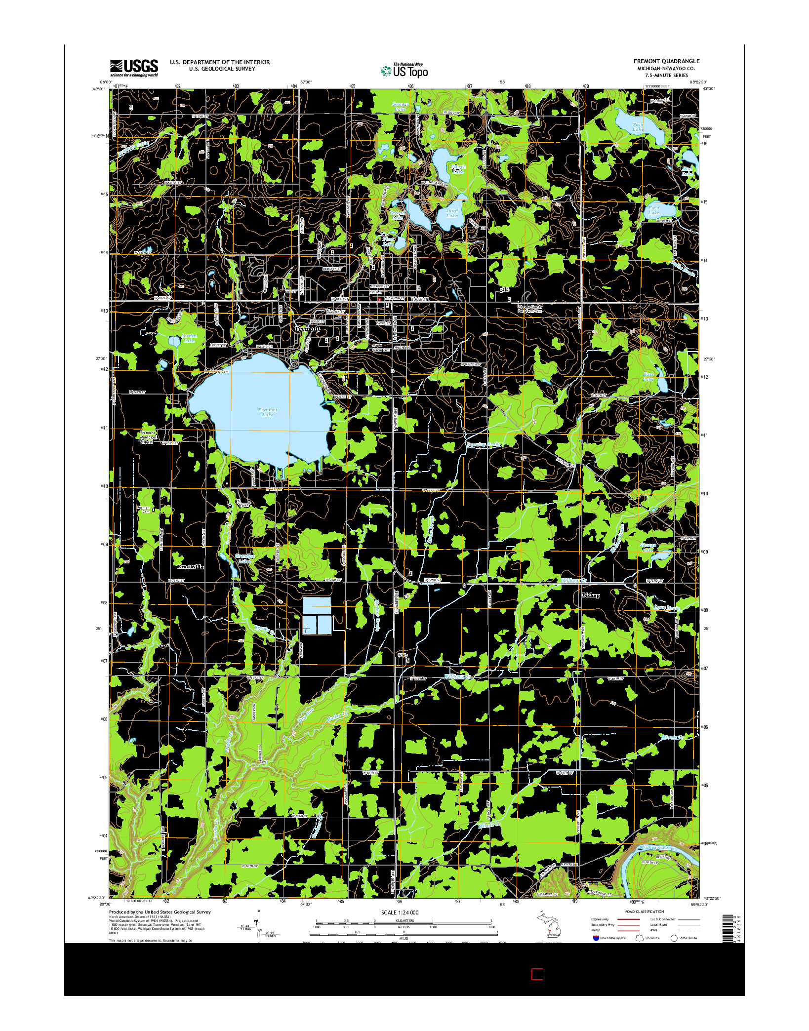 USGS US TOPO 7.5-MINUTE MAP FOR FREMONT, MI 2014