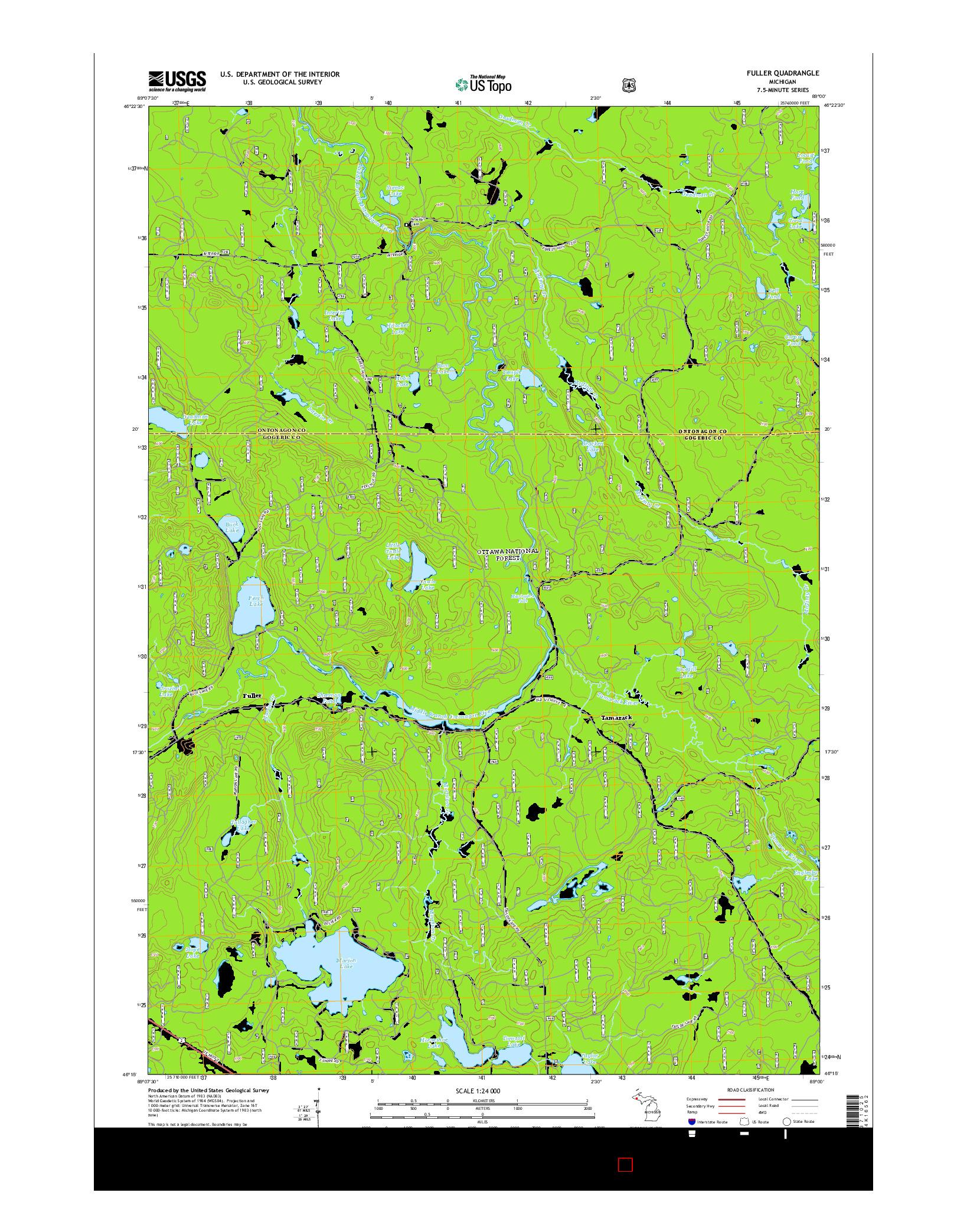 USGS US TOPO 7.5-MINUTE MAP FOR FULLER, MI 2014