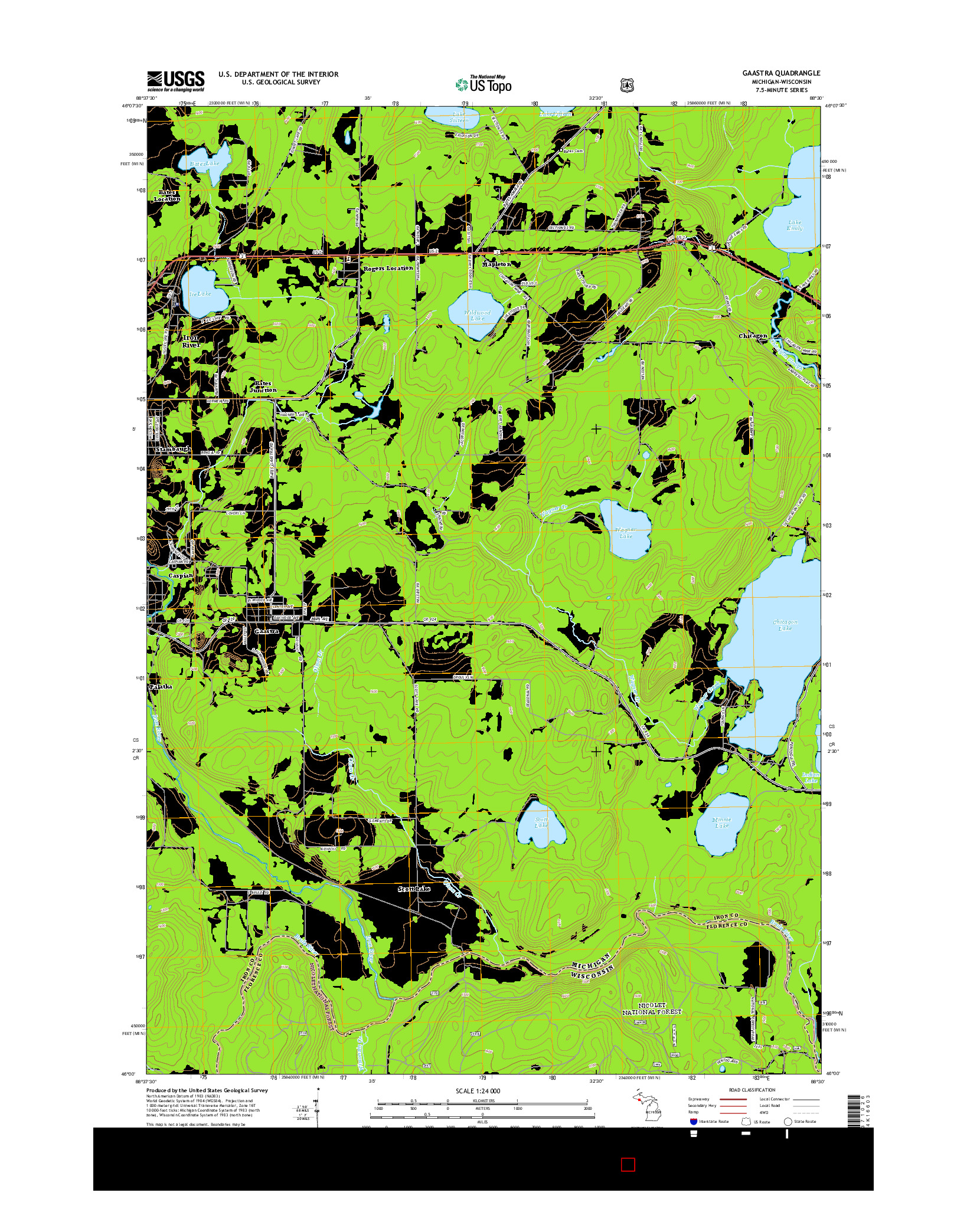 USGS US TOPO 7.5-MINUTE MAP FOR GAASTRA, MI-WI 2014