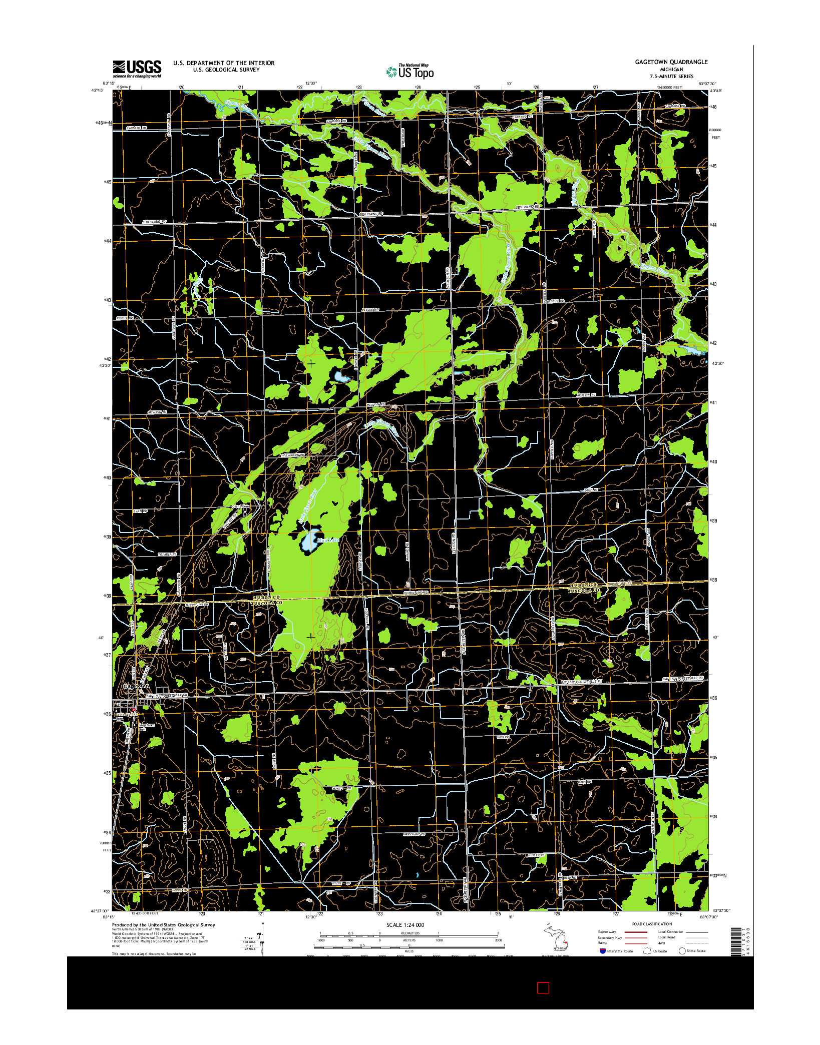 USGS US TOPO 7.5-MINUTE MAP FOR GAGETOWN, MI 2014