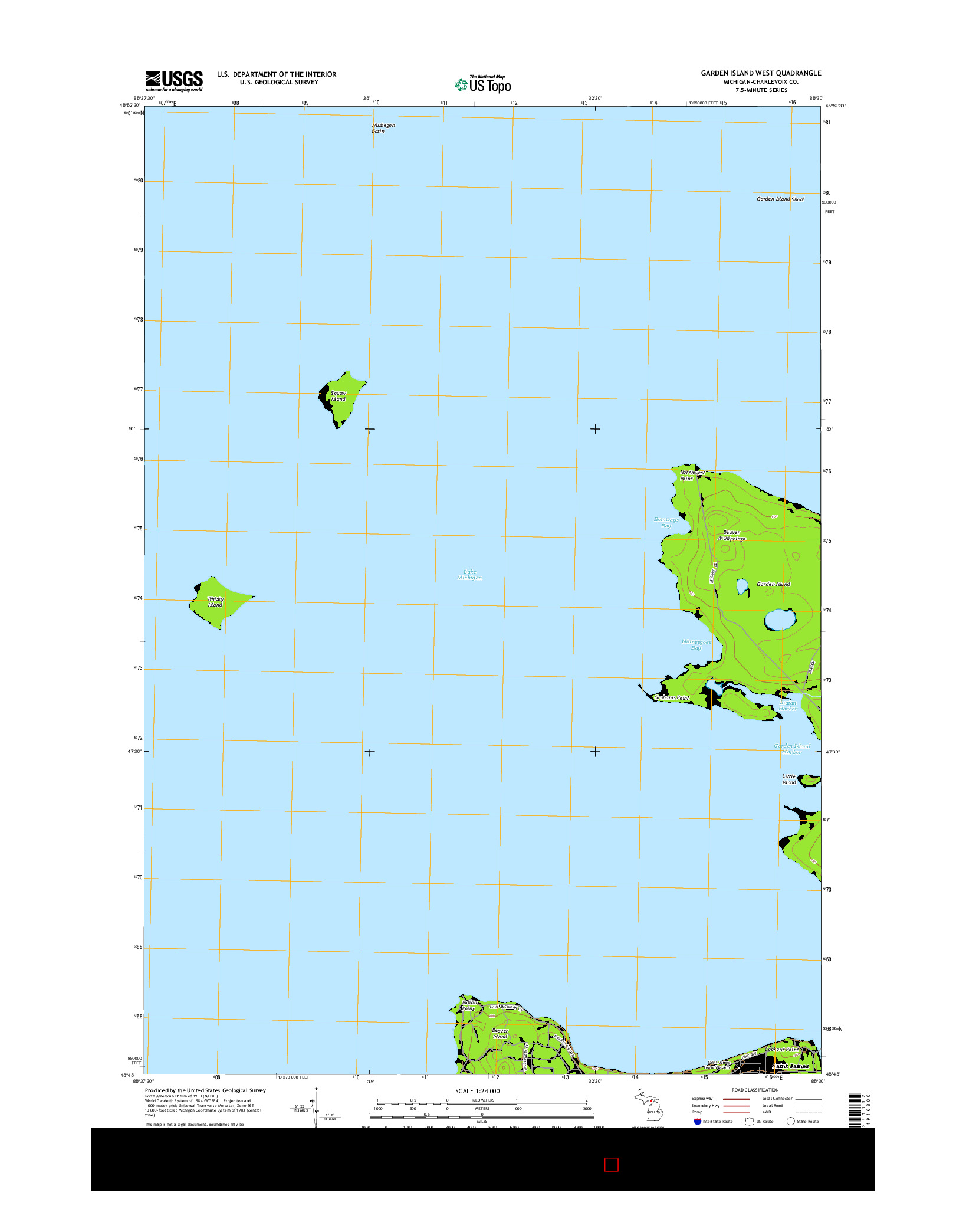 USGS US TOPO 7.5-MINUTE MAP FOR GARDEN ISLAND WEST, MI 2014