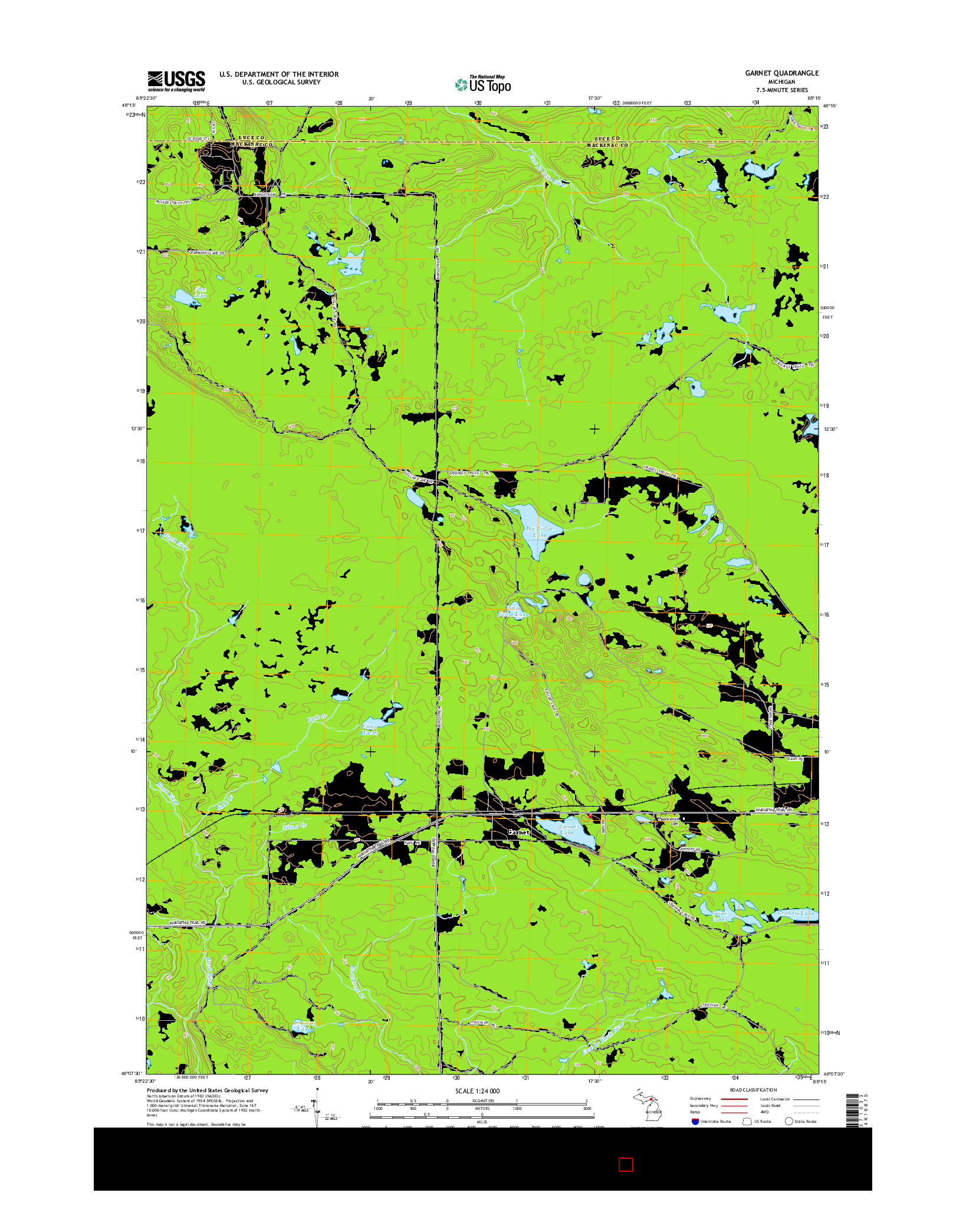 USGS US TOPO 7.5-MINUTE MAP FOR GARNET, MI 2014