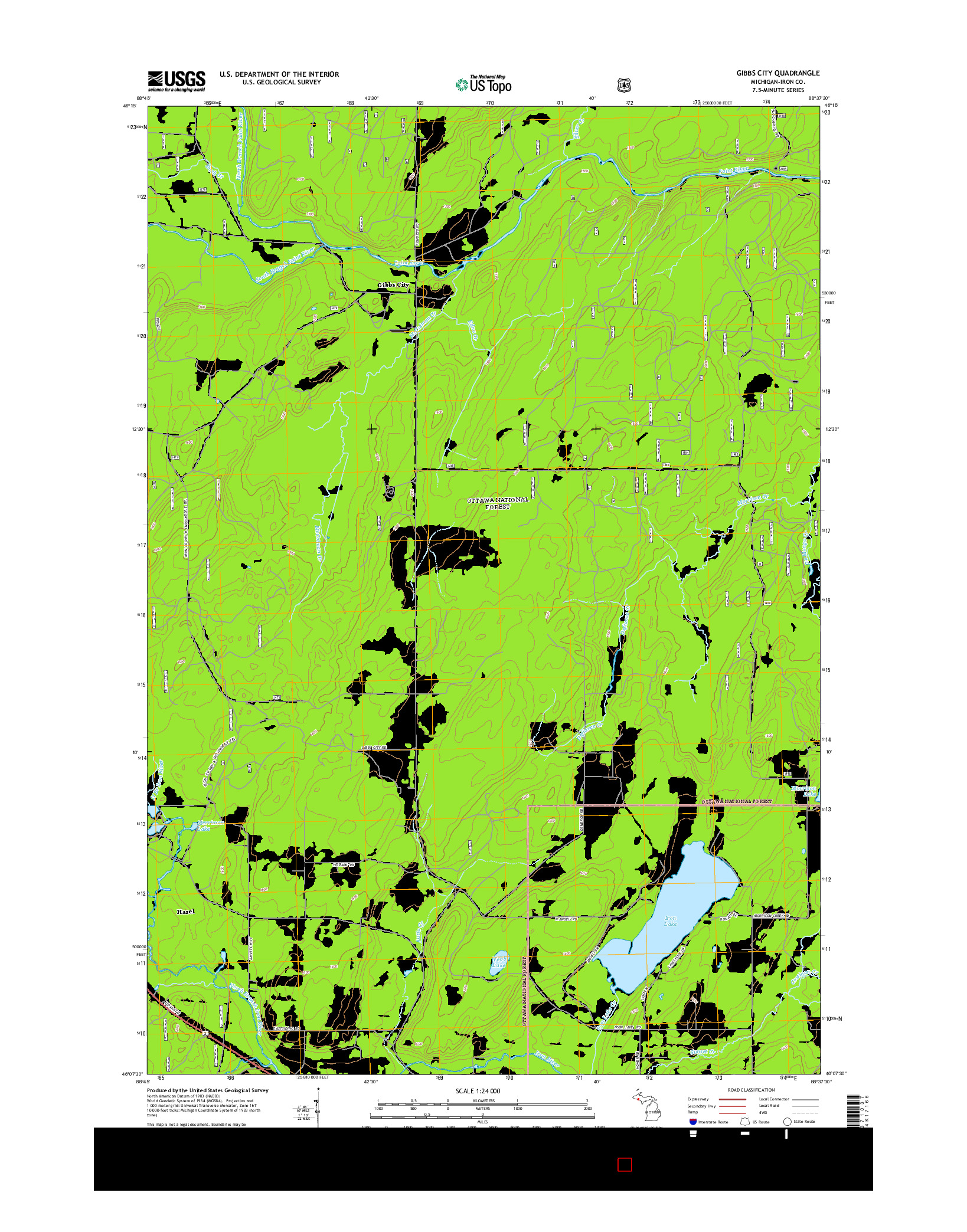 USGS US TOPO 7.5-MINUTE MAP FOR GIBBS CITY, MI 2014