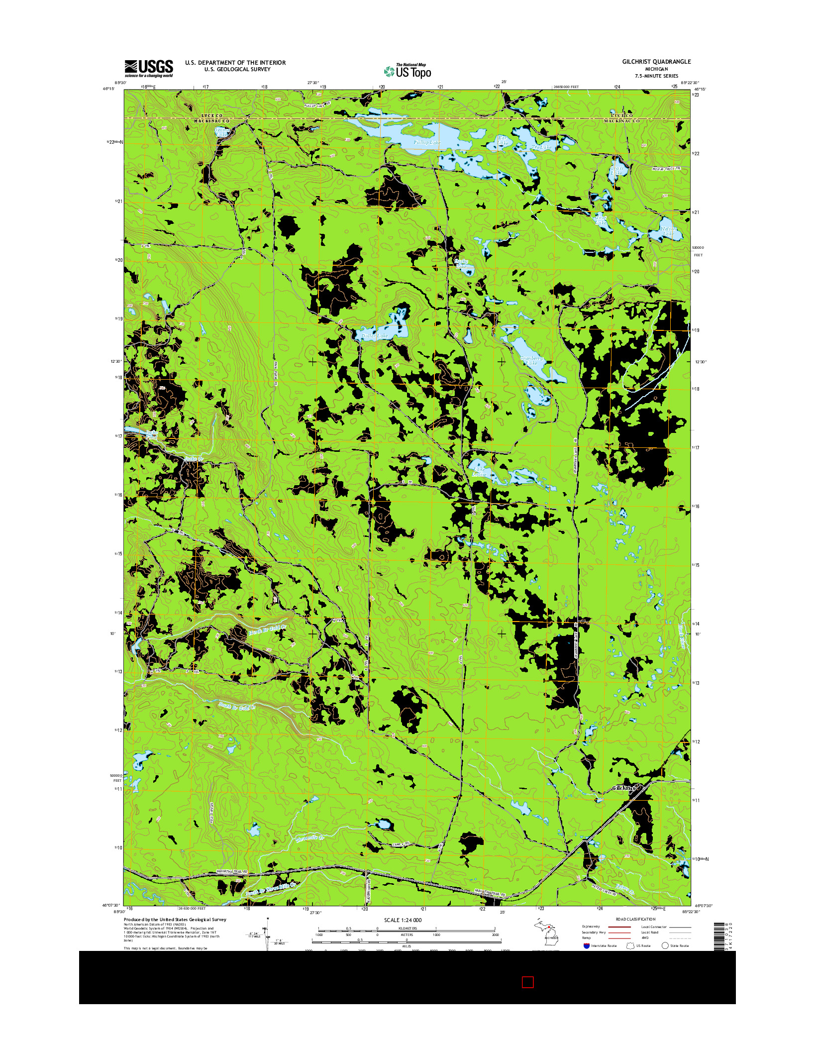 USGS US TOPO 7.5-MINUTE MAP FOR GILCHRIST, MI 2014