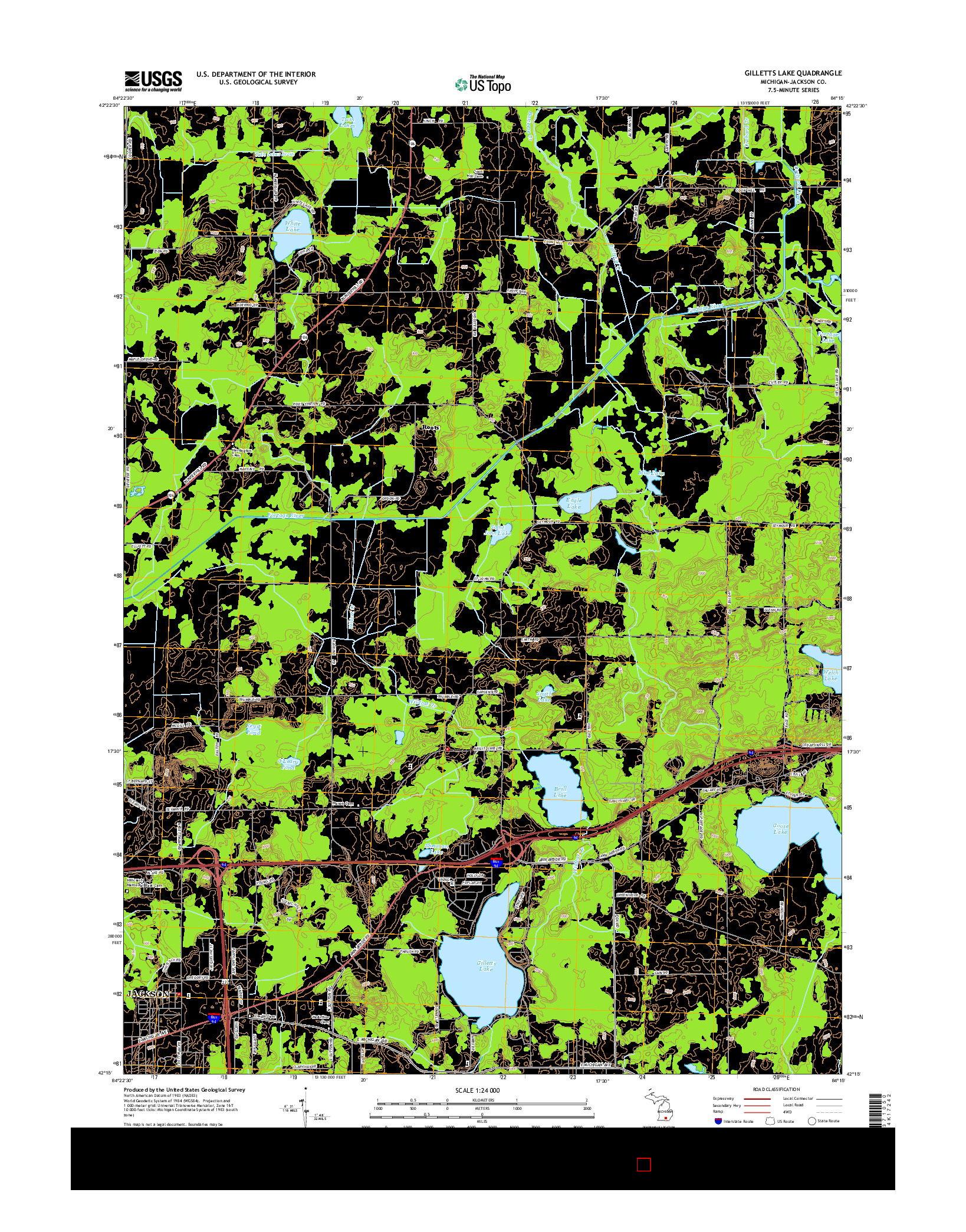 USGS US TOPO 7.5-MINUTE MAP FOR GILLETTS LAKE, MI 2014