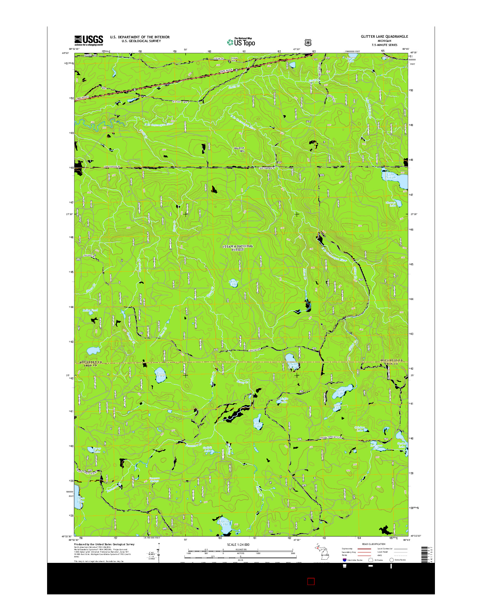 USGS US TOPO 7.5-MINUTE MAP FOR GLITTER LAKE, MI 2014