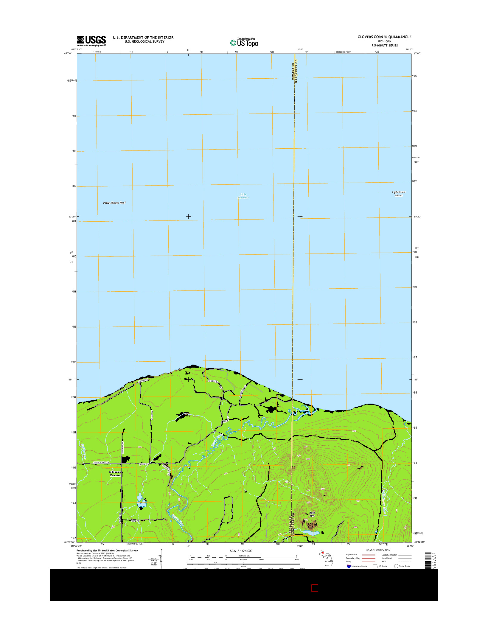 USGS US TOPO 7.5-MINUTE MAP FOR GLOVERS CORNER, MI 2014