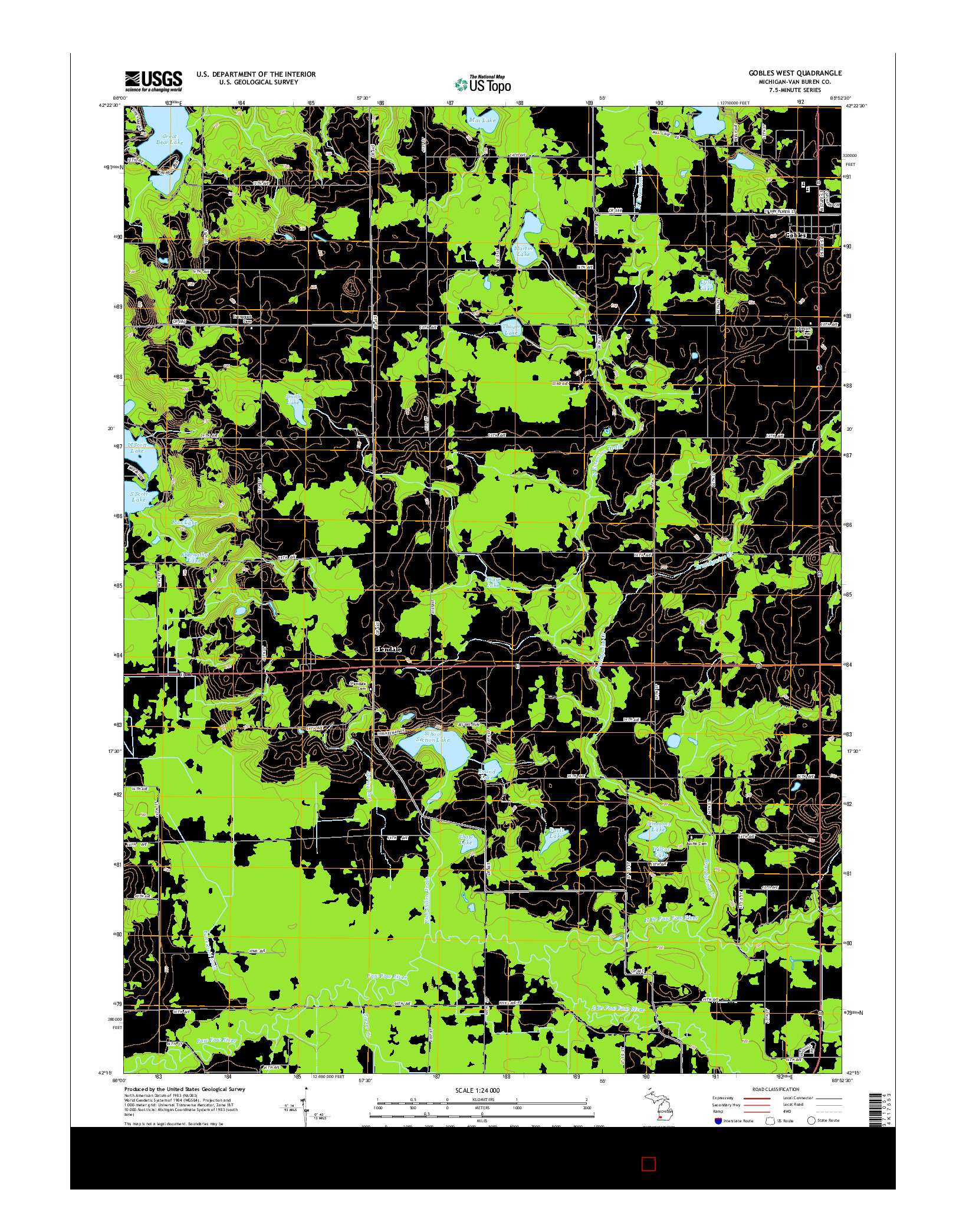 USGS US TOPO 7.5-MINUTE MAP FOR GOBLES WEST, MI 2014