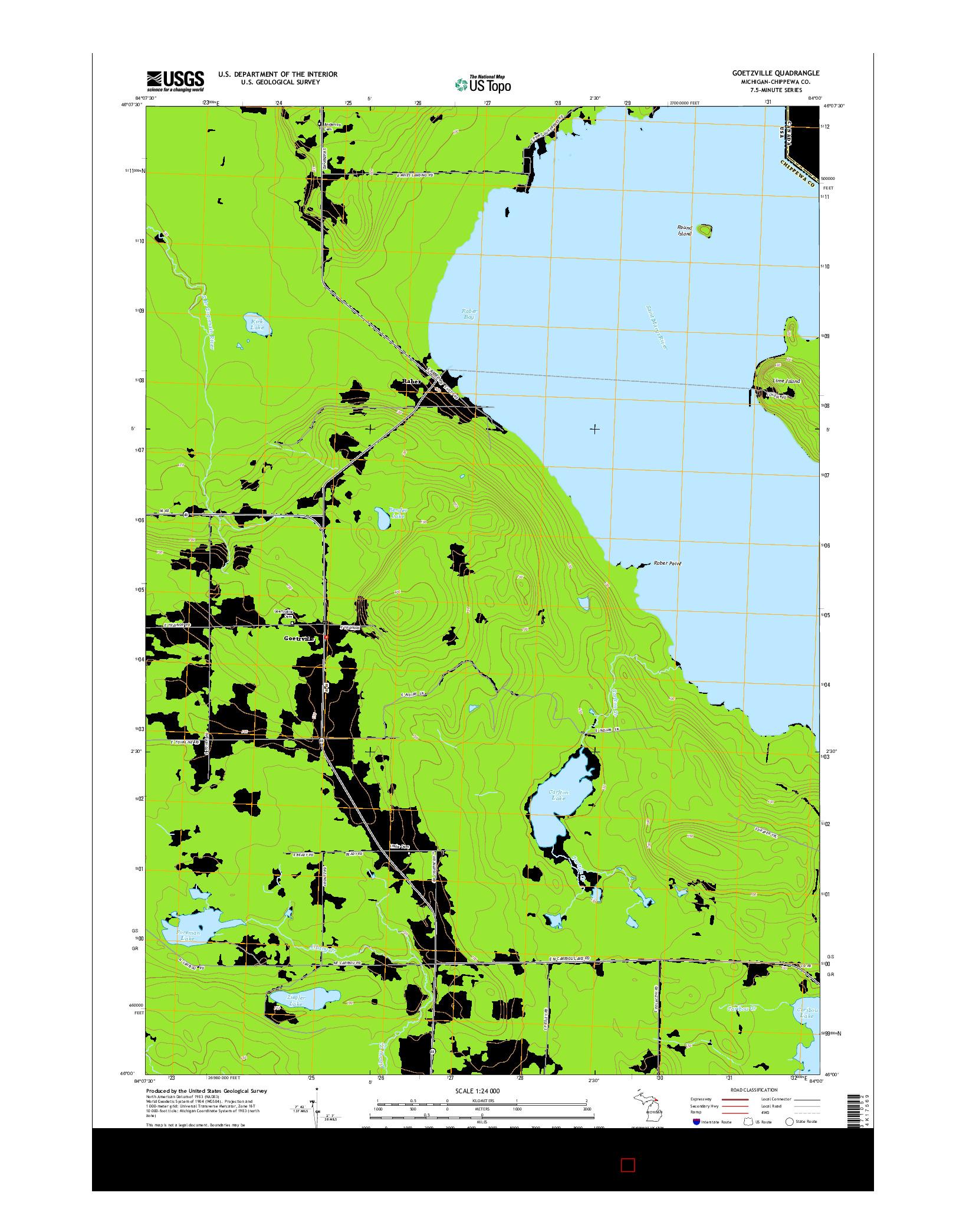 USGS US TOPO 7.5-MINUTE MAP FOR GOETZVILLE, MI 2014
