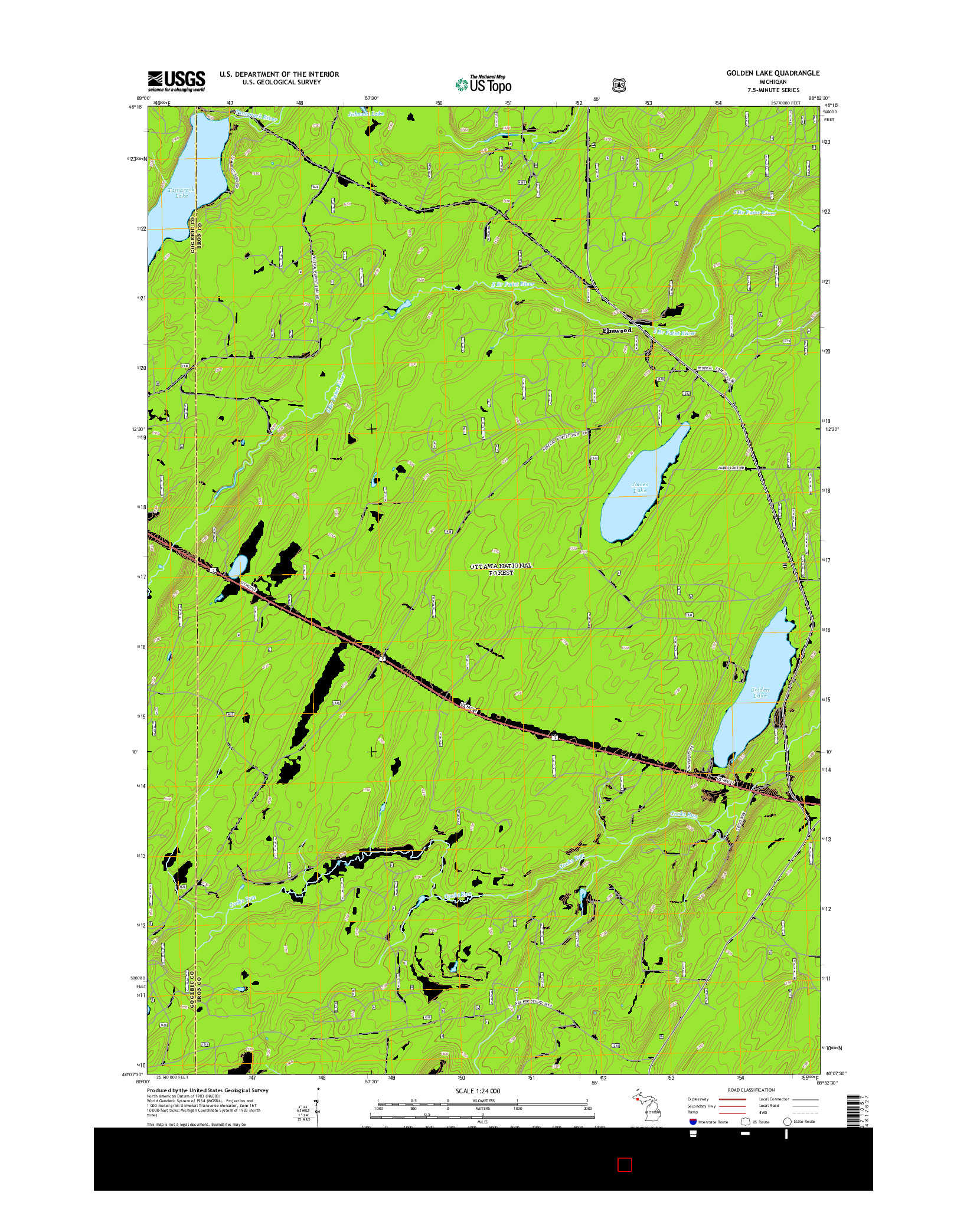 USGS US TOPO 7.5-MINUTE MAP FOR GOLDEN LAKE, MI 2014