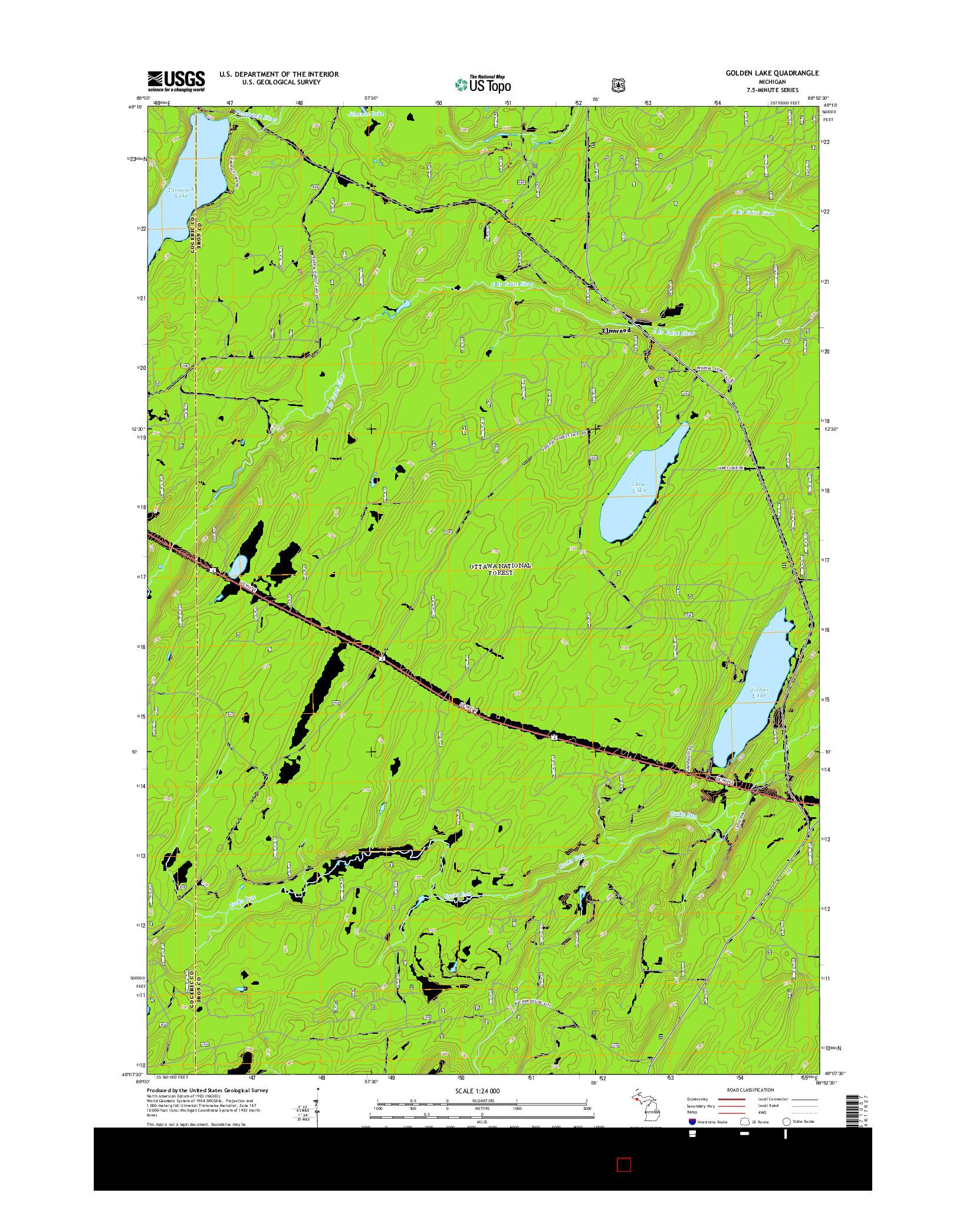 USGS US TOPO 7.5-MINUTE MAP FOR GOLDEN LAKE, MI 2014