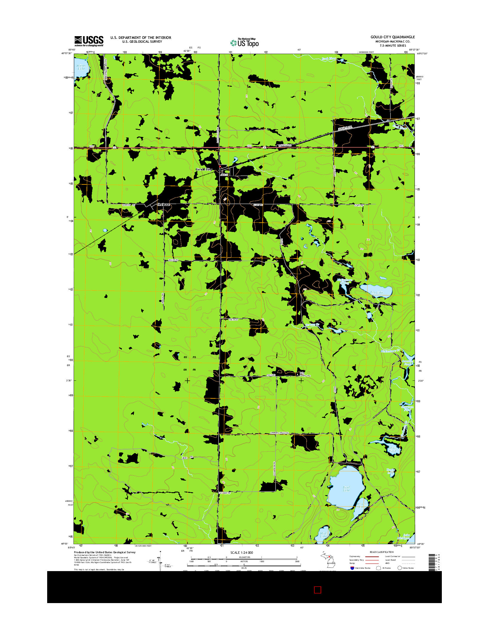 USGS US TOPO 7.5-MINUTE MAP FOR GOULD CITY, MI 2014