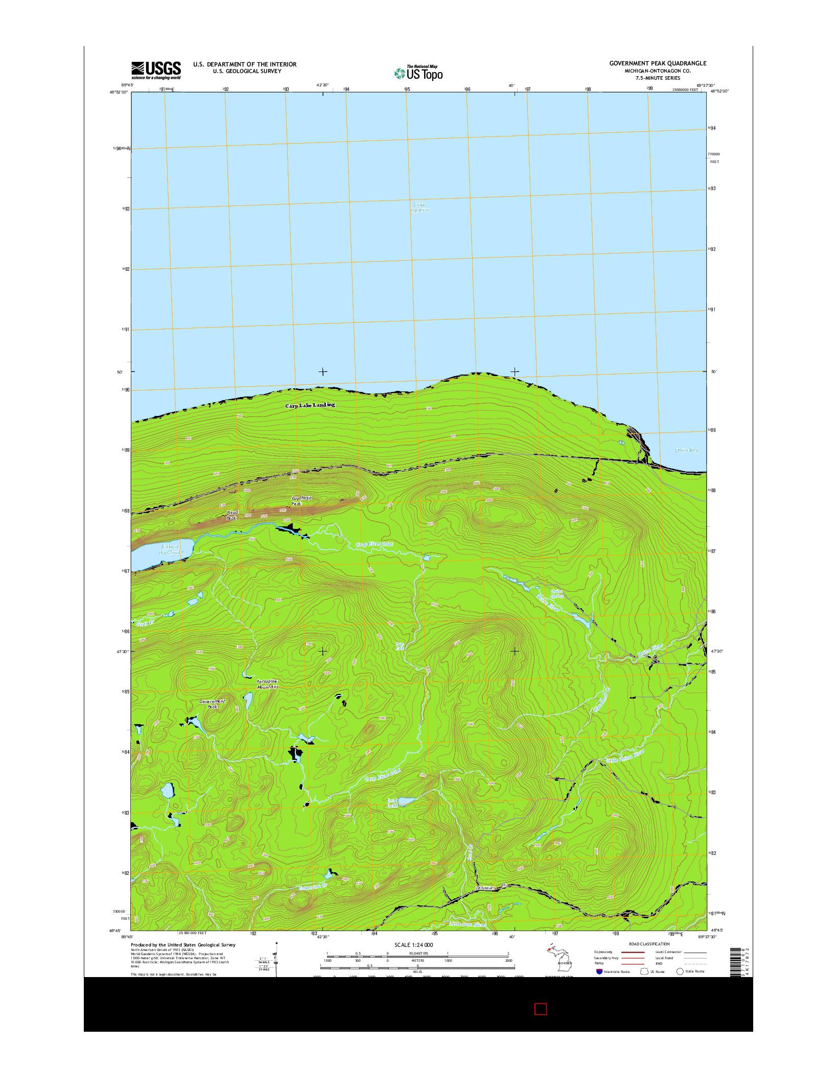 USGS US TOPO 7.5-MINUTE MAP FOR GOVERNMENT PEAK, MI 2014