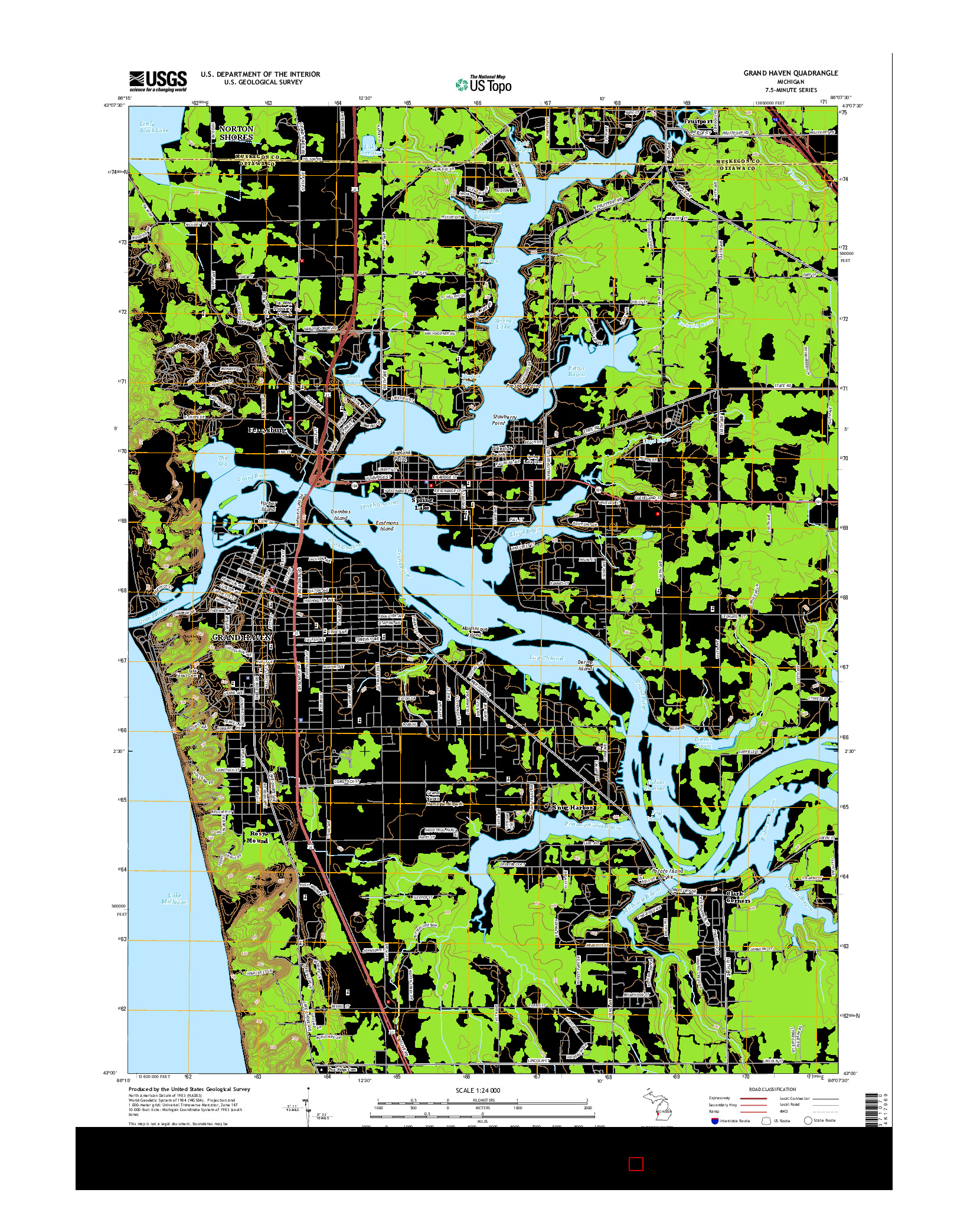 USGS US TOPO 7.5-MINUTE MAP FOR GRAND HAVEN, MI 2014
