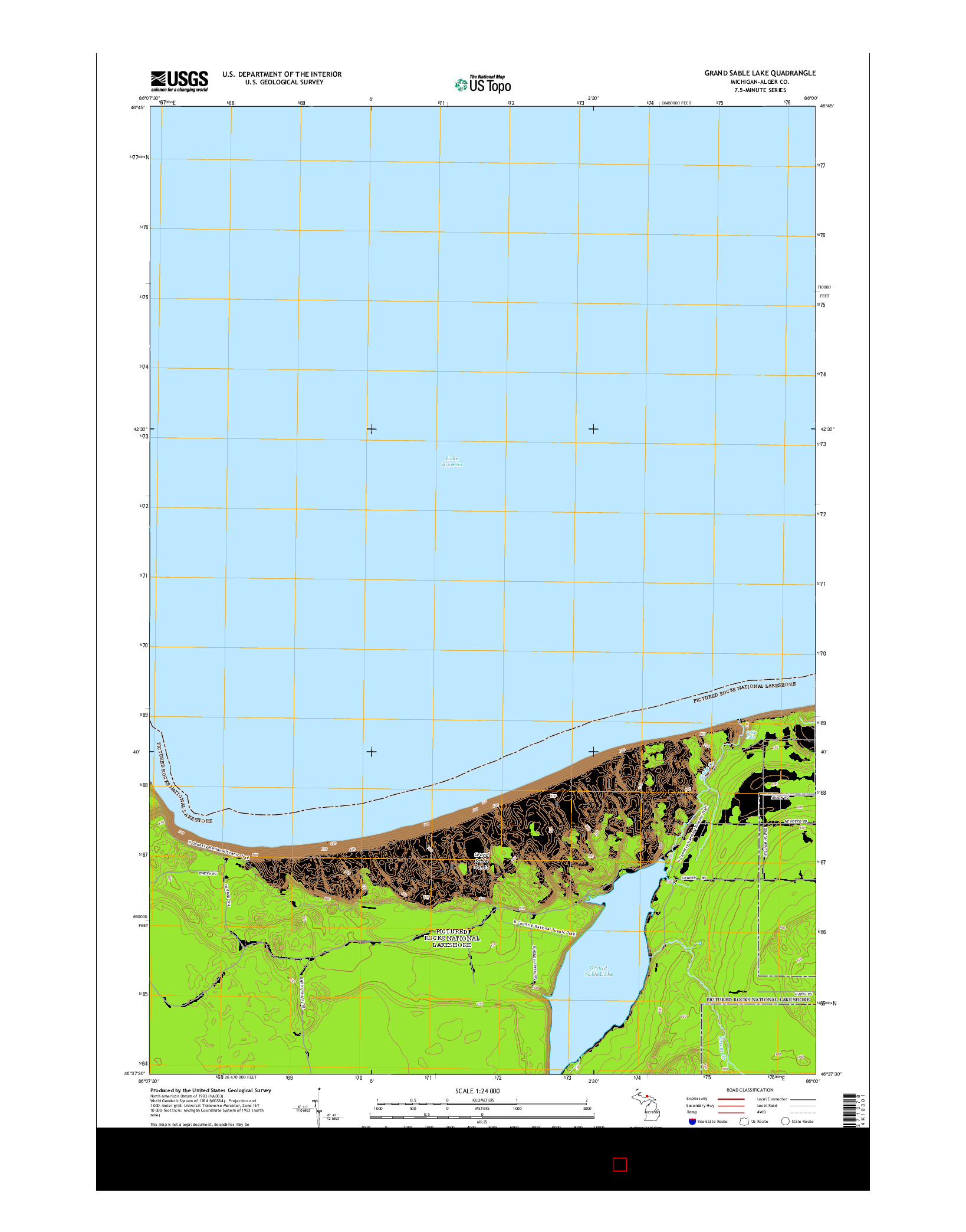 USGS US TOPO 7.5-MINUTE MAP FOR GRAND SABLE LAKE, MI 2014