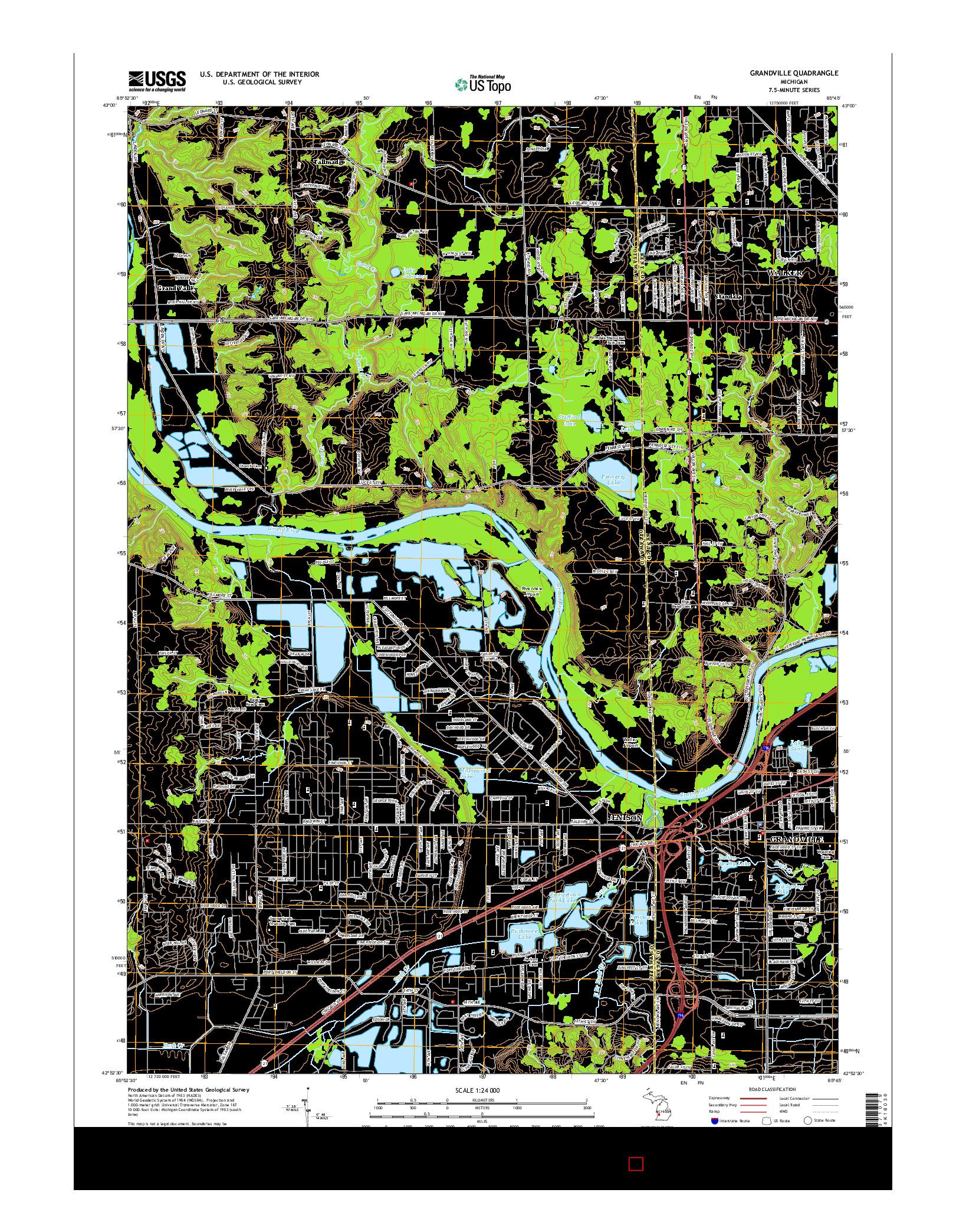 USGS US TOPO 7.5-MINUTE MAP FOR GRANDVILLE, MI 2014