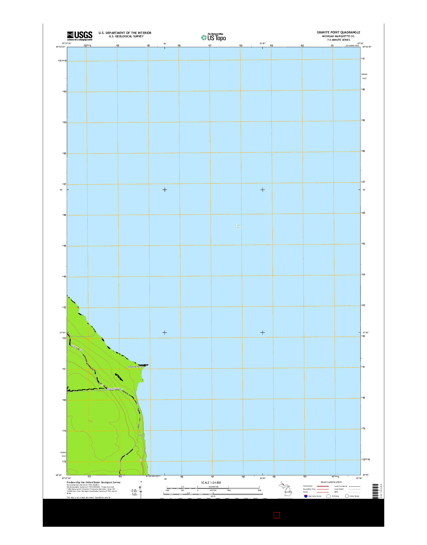 USGS US TOPO 7.5-MINUTE MAP FOR GRANITE POINT, MI 2014