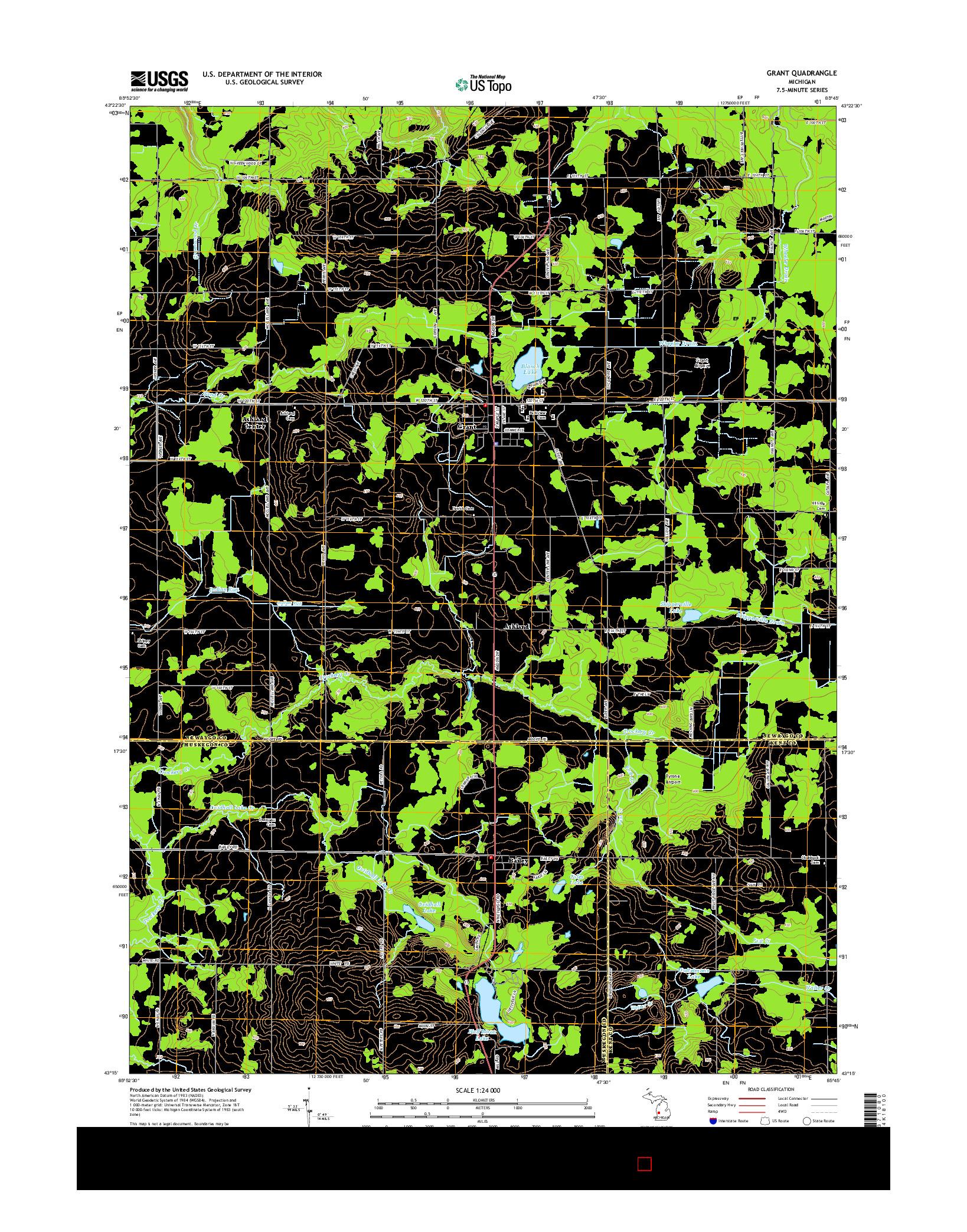 USGS US TOPO 7.5-MINUTE MAP FOR GRANT, MI 2014