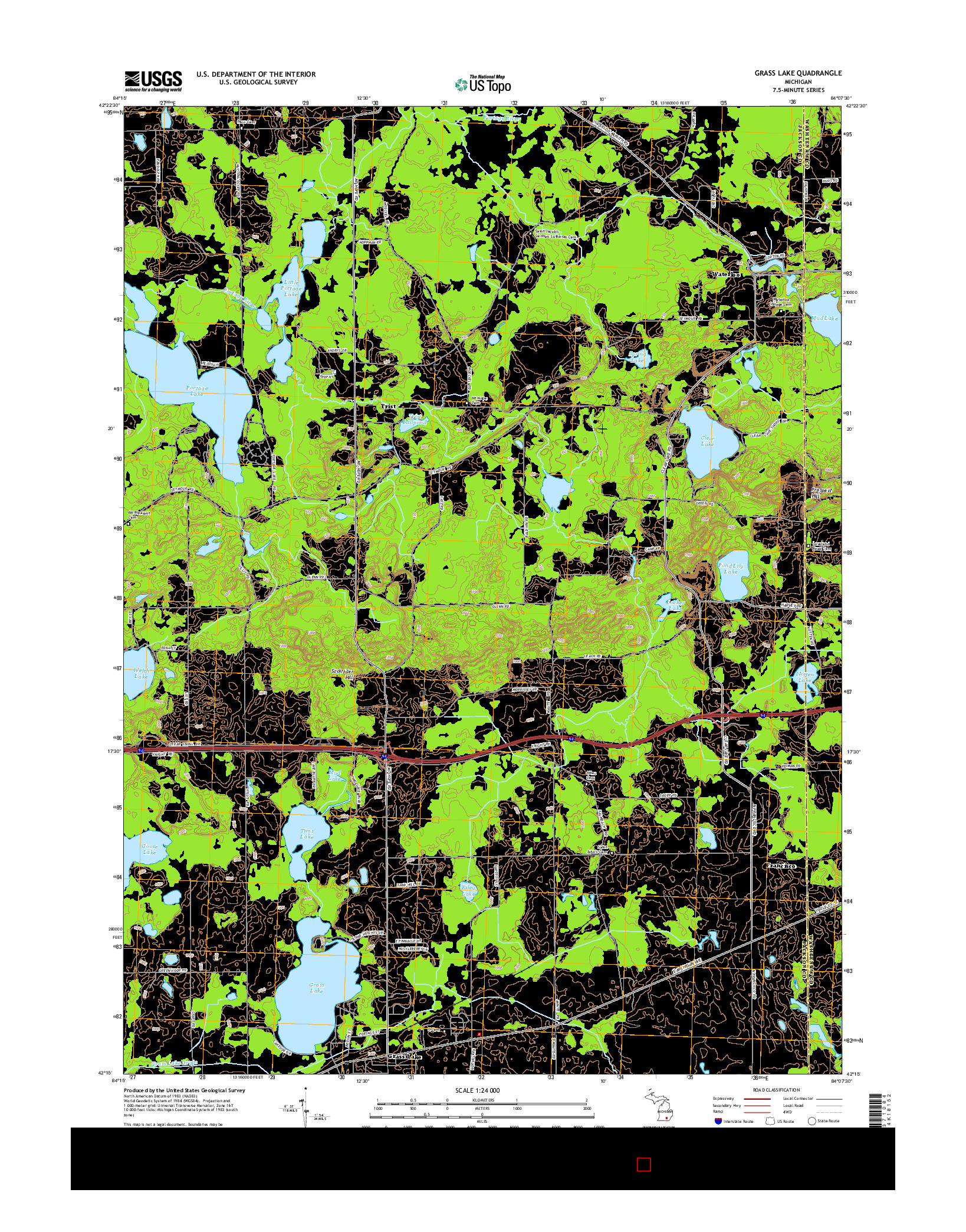 USGS US TOPO 7.5-MINUTE MAP FOR GRASS LAKE, MI 2014