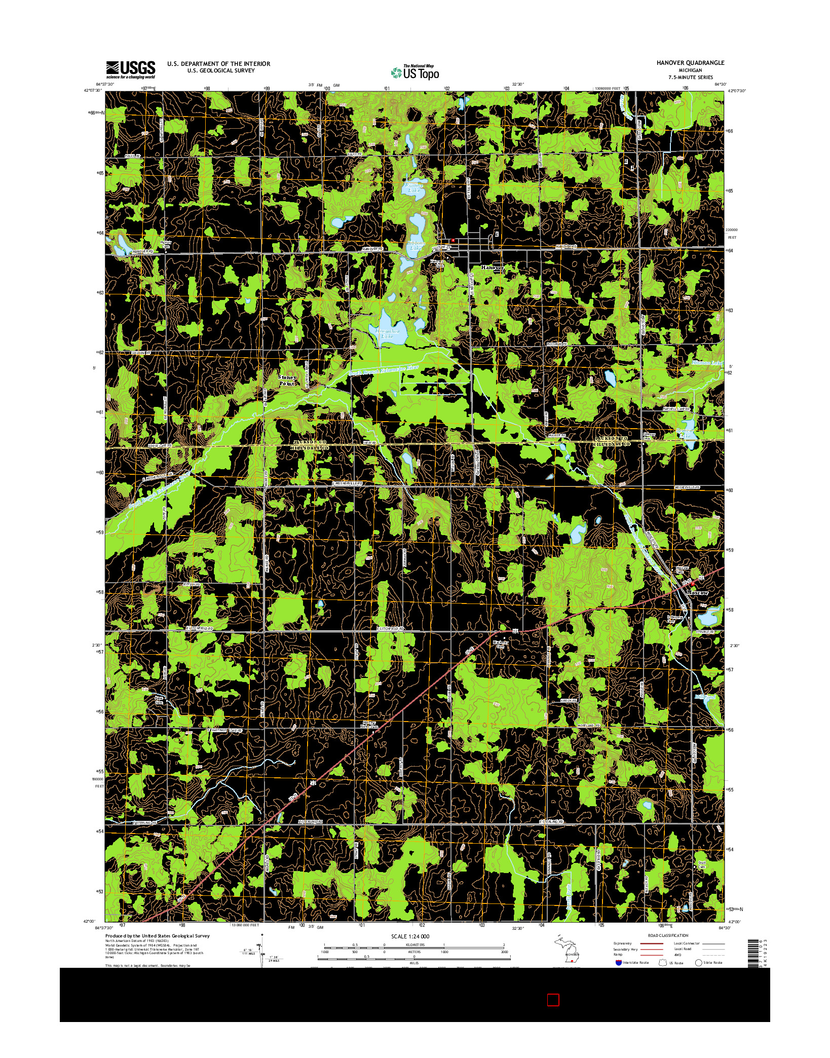 USGS US TOPO 7.5-MINUTE MAP FOR HANOVER, MI 2014